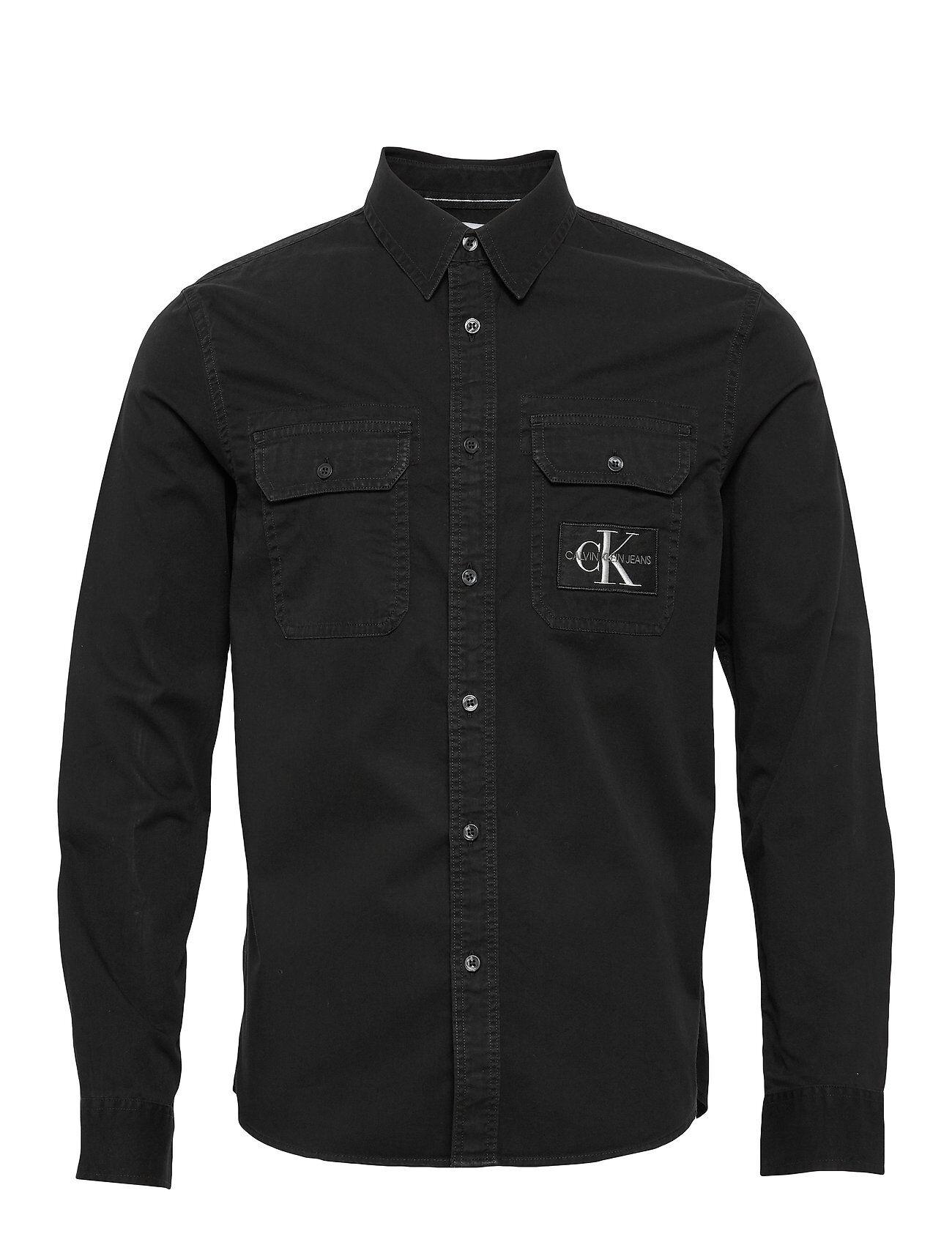 Image of Calvin Gmd Utility Reg Shirt Paita Rento Casual Musta Calvin Klein Jeans