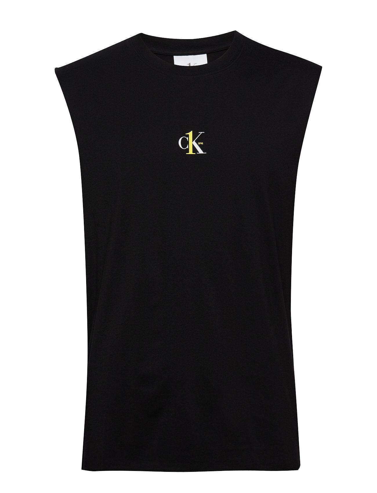 Image of Calvin Small Logo Regular Sls Tee T-shirts Sleeveless Musta Calvin Klein Jeans