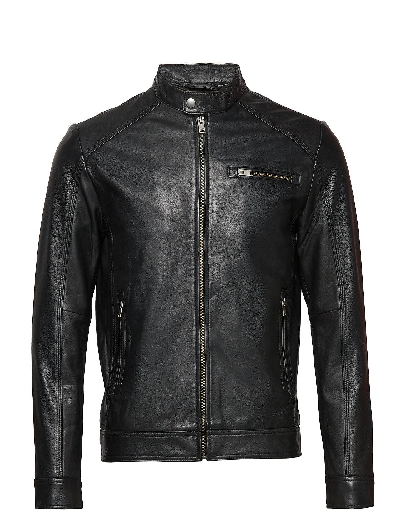 Selected Homme Slh C-01 Classic Leather Jacket W Noos Nahkatakki Musta Selected Homme