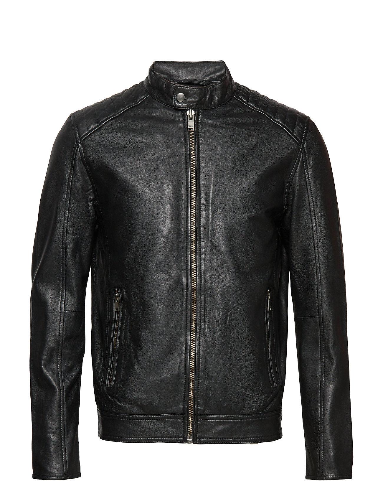 Selected Homme Slh R-03 Racer Leather Jkt W Noos Nahkatakki Musta Selected Homme
