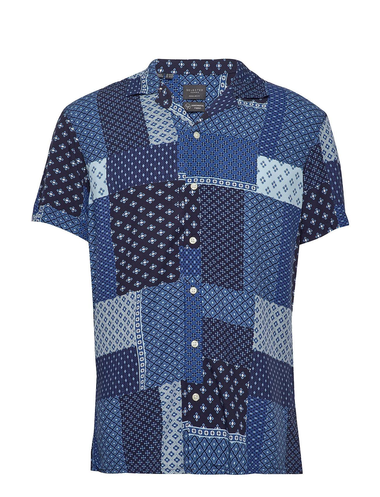Selected Homme Slhregfuse Shirt Ss Aop B Lyhythihainen Paita Sininen Selected Homme