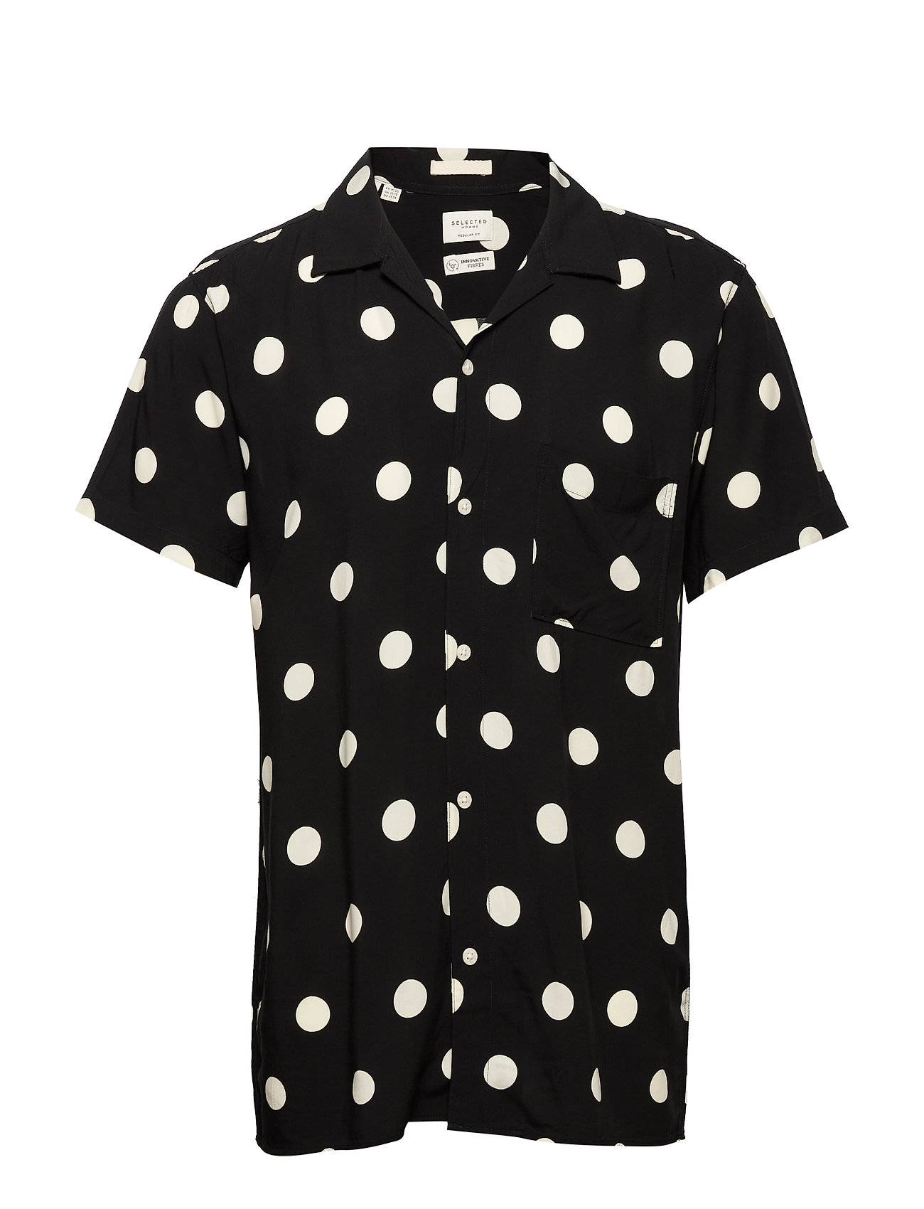 Selected Homme Slhregdot Shirt Ss Aop W Lyhythihainen Paita Musta Selected Homme
