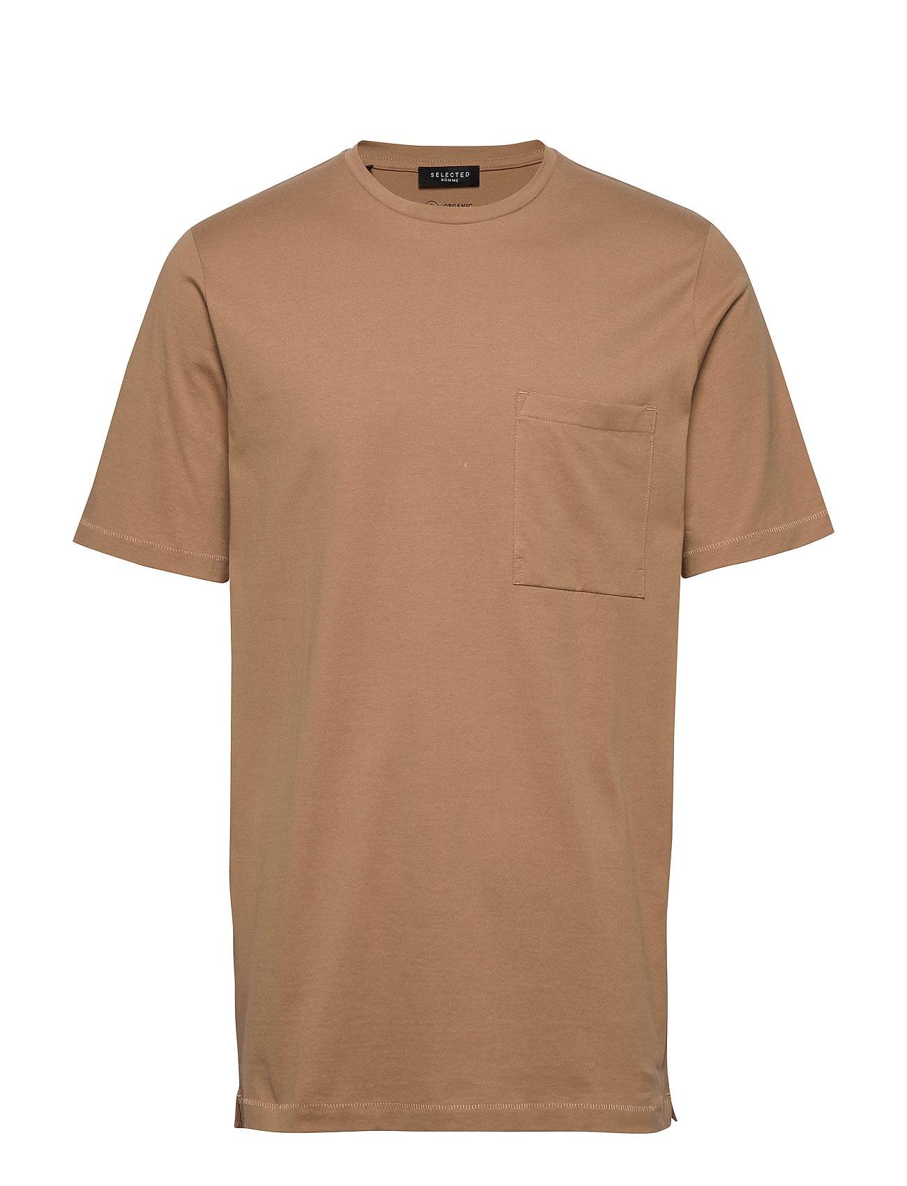 Selected Homme Slhloui Ss O-Neck Tee B T-shirts Short-sleeved Beige Selected Homme