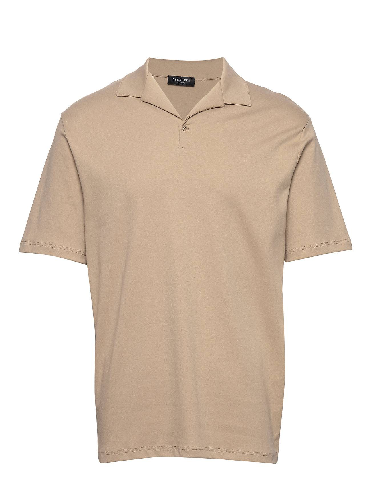 Selected Homme Slhflorian Ss Polo B Polos Short-sleeved Beige Selected Homme