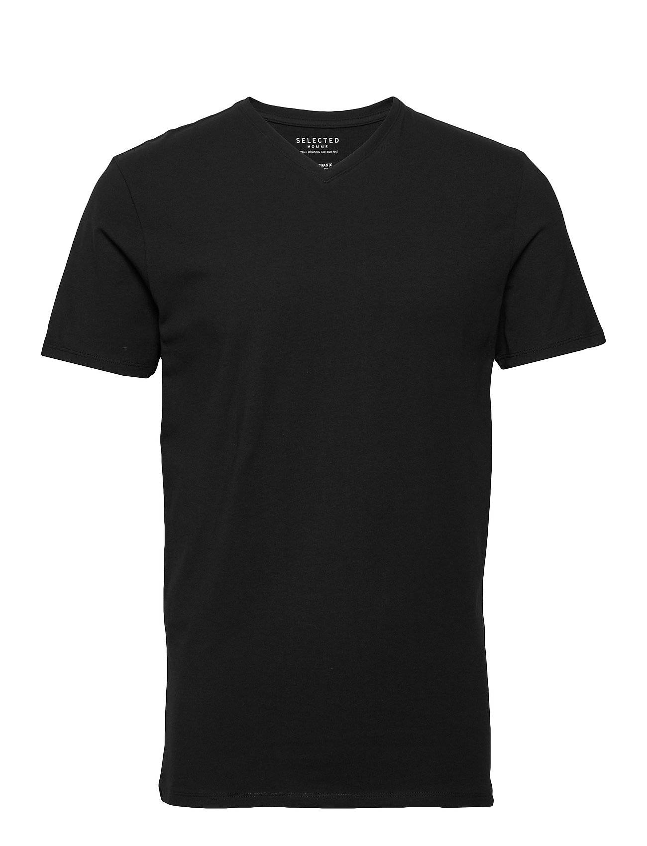 Selected Homme Slhnewpima Ss V-Neck Tee B Noos T-shirts Short-sleeved Musta Selected Homme