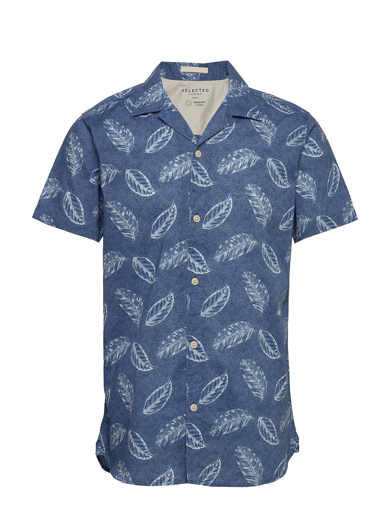 Selected Homme Slhslimgale Shirt Ss Aop W Camp Lyhythihainen Paita Sininen Selected Homme