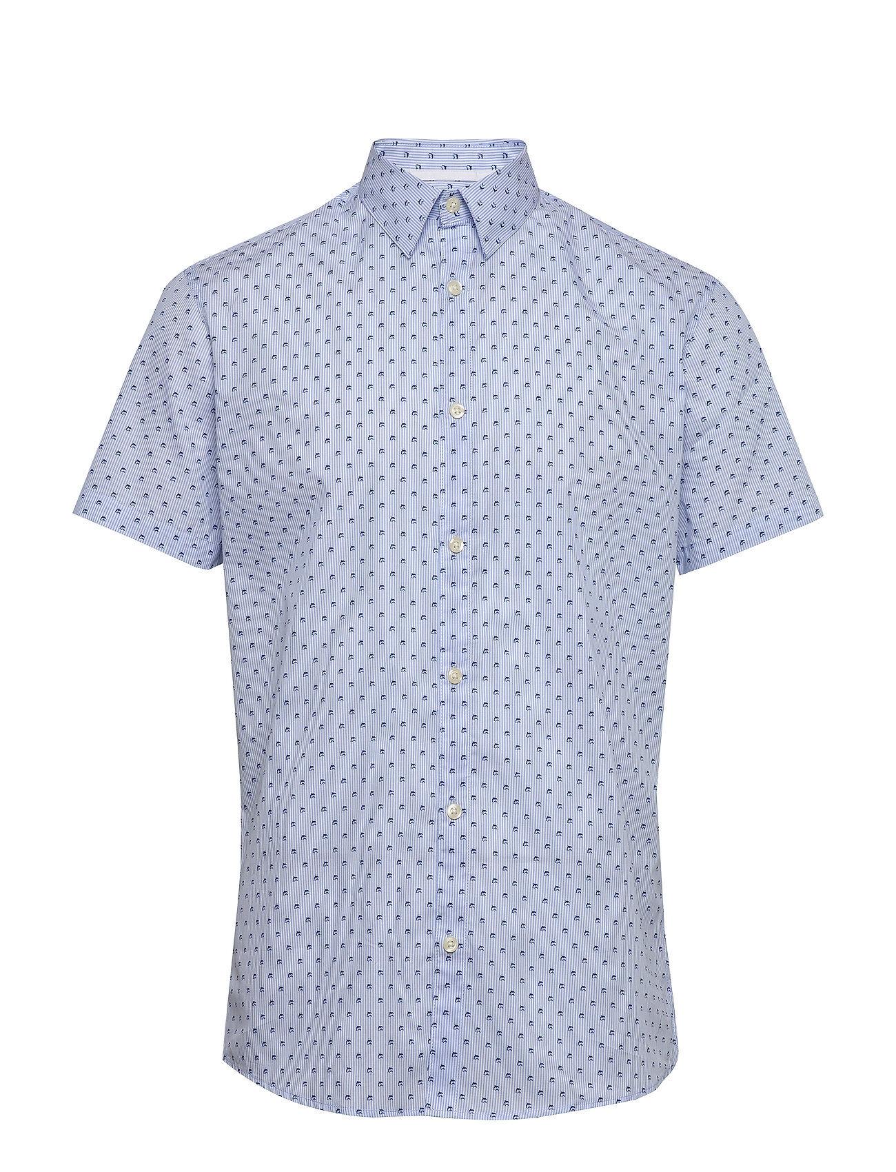 Selected Homme Slhslimdixon Shirt Ss Mix B Camp Lyhythihainen Paita Sininen Selected Homme