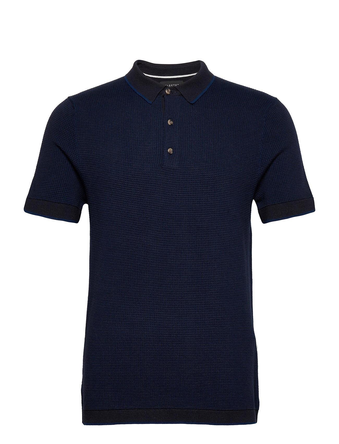 Selected Homme Slhbeak Ss Polo B Polos Short-sleeved Sininen Selected Homme