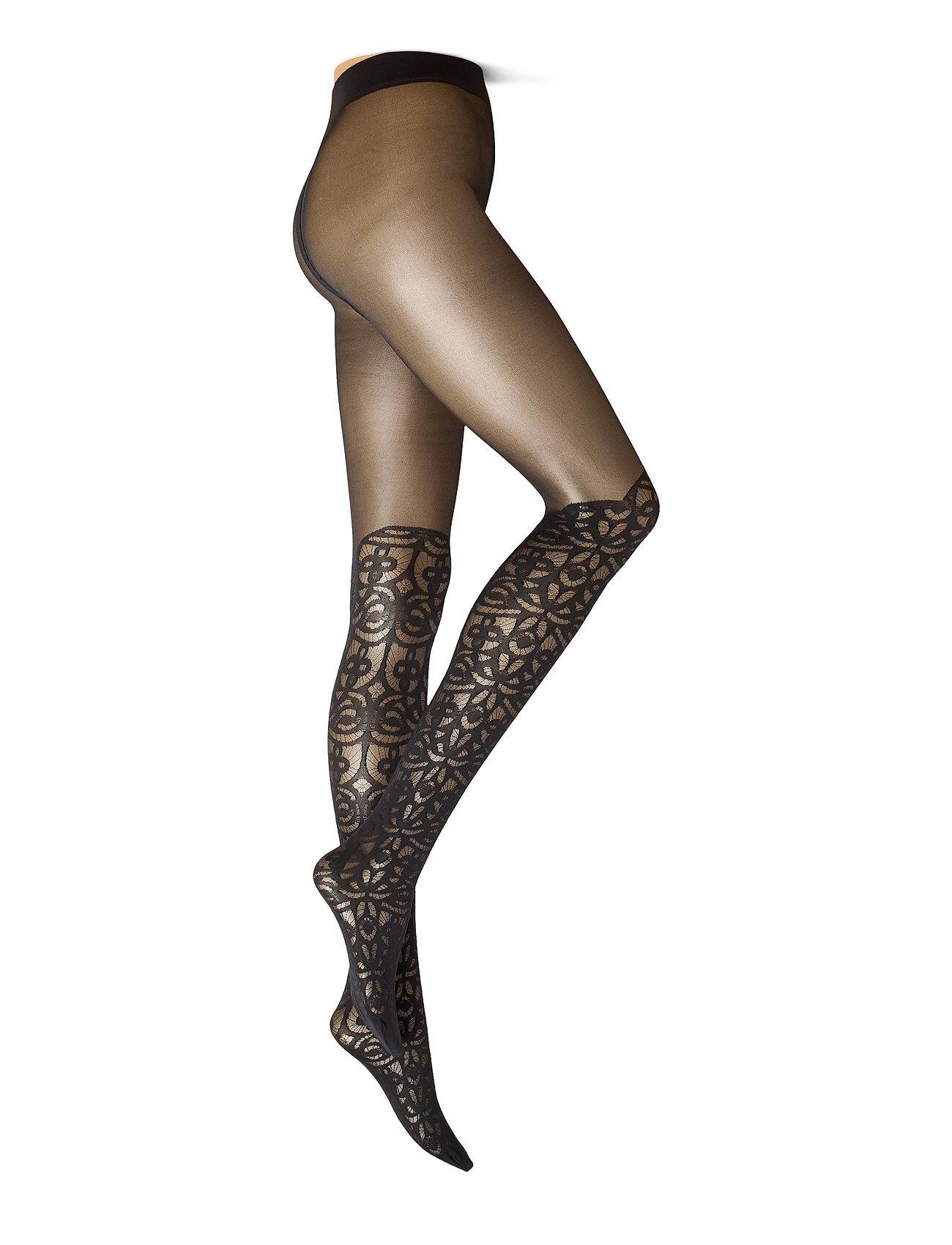 Swedish Stockings Linnea Lace Tights Running/training Tights Musta Swedish Stockings