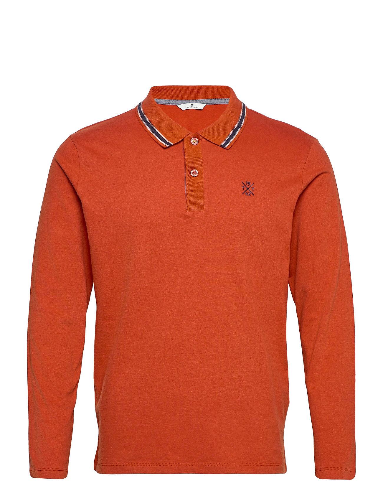 Tom Tailor Soft Longsle Polos Long-sleeved Oranssi Tom Tailor
