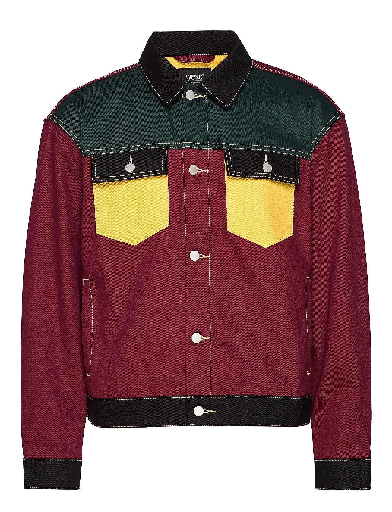 WeSC Denim Jacket Colorblock Farkkutakki Denimtakki Punainen WeSC