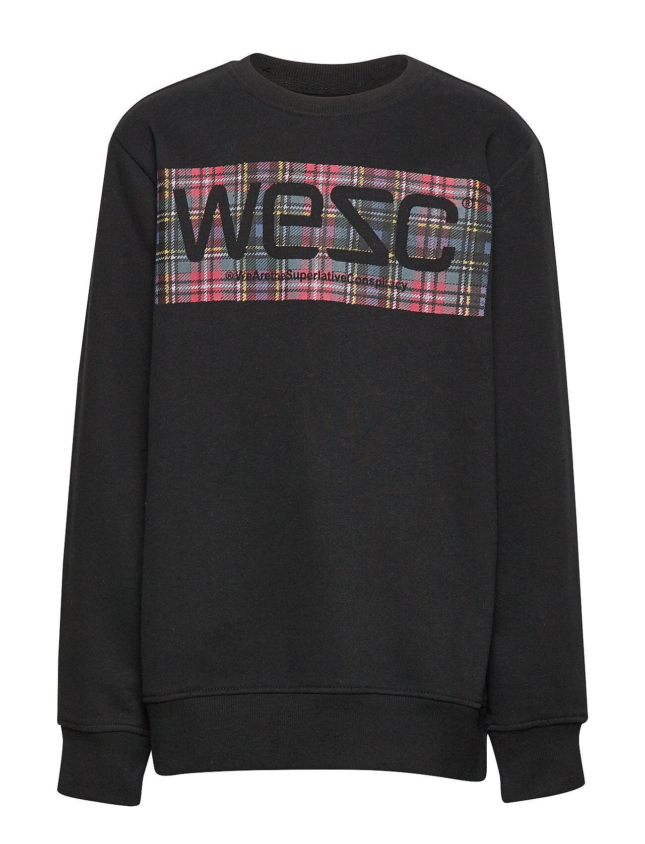 WeSC Miles Tartan Logo Big Boy Svetari Collegepaita Musta WeSC