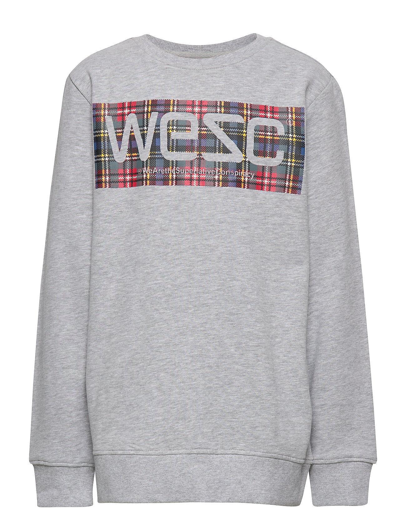 WeSC Miles Tartan Logo Big Boy Svetari Collegepaita Harmaa WeSC