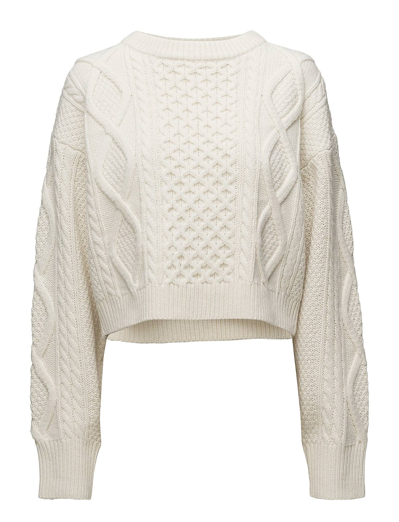 3.1 Phillip Lim Ls Cropped Boxy Aran Cable Sweater