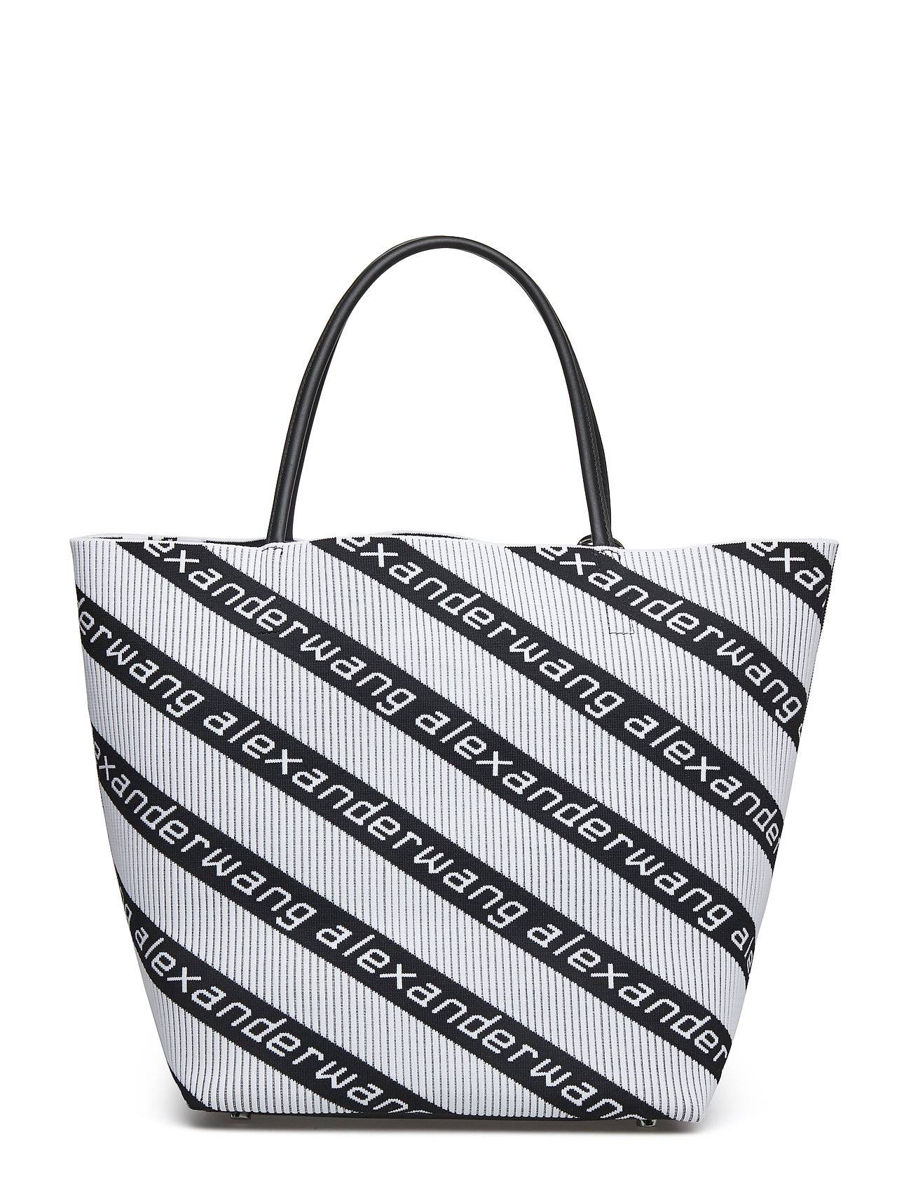 Alexander Wang Knit Jcqd Roxy Sft Lg Tote Wht/Blk Diagonal Logo/Ir