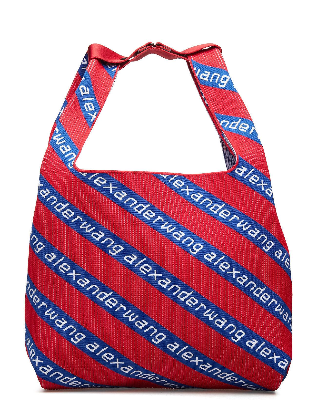 Alexander Wang Knit Jcqd Shopper In Americana Red/Wht/Blu Diagonal Logo