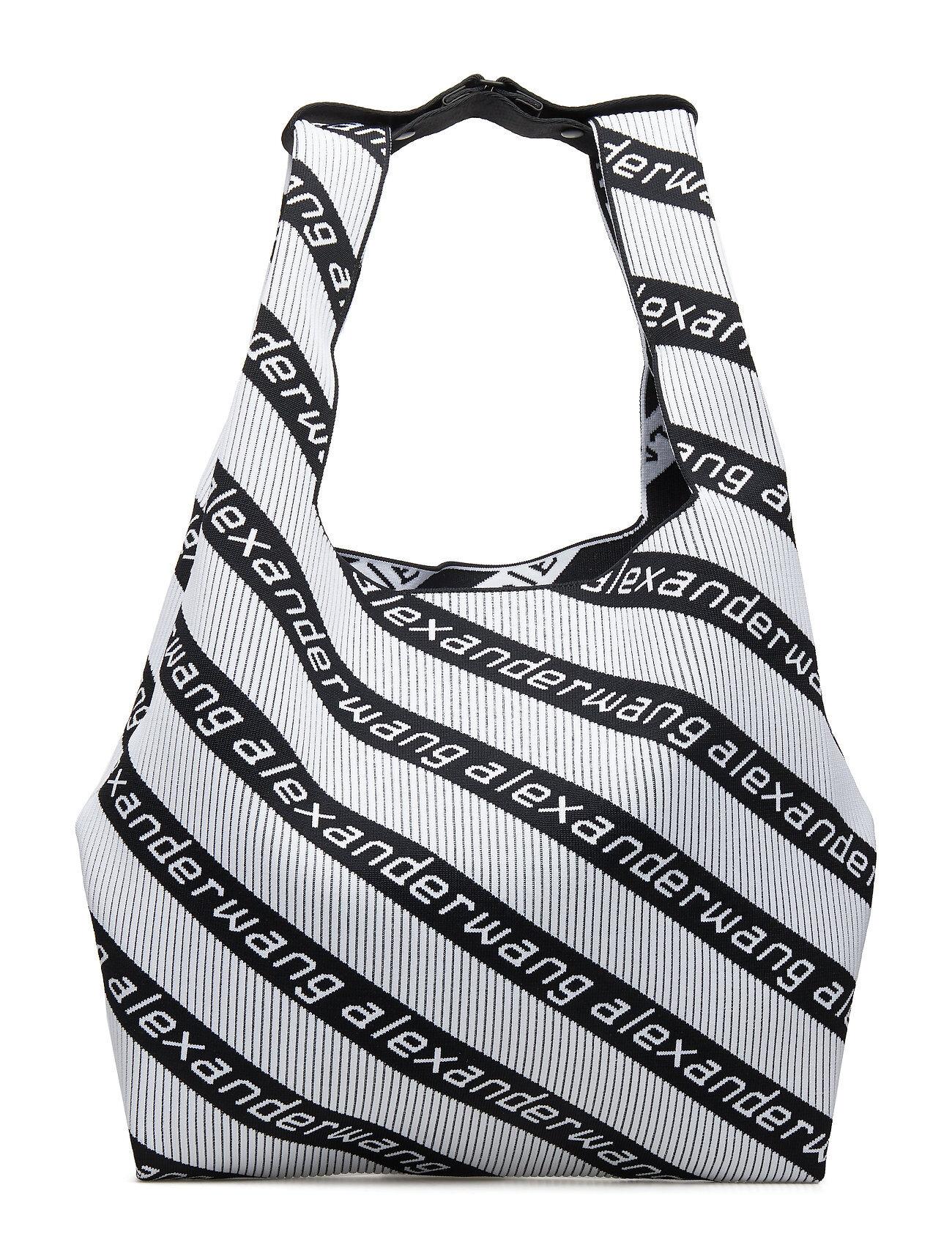 Alexander Wang Knit Jcqd Shopper In Wht/Blk Diagonal Logo