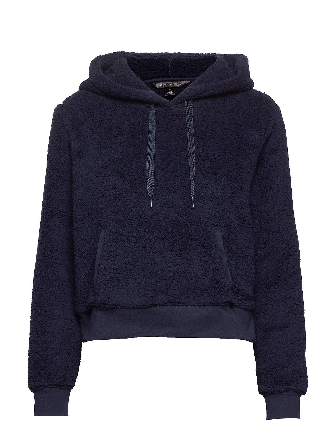 Image of Banana Republic Cropped Sherpa Fleece Hoodie Huppari Sininen