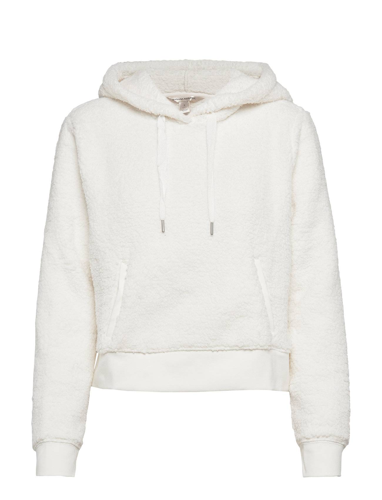 Image of Banana Republic Cropped Sherpa Fleece Hoodie Huppari Valkoinen