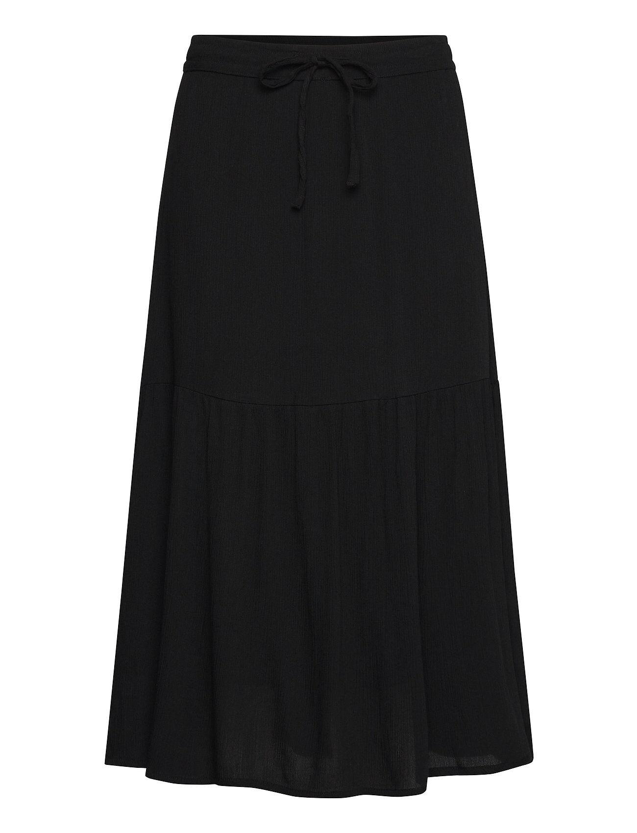 Brandtex Skirt-Light Woven Polvipituinen Hame Musta Brandtex