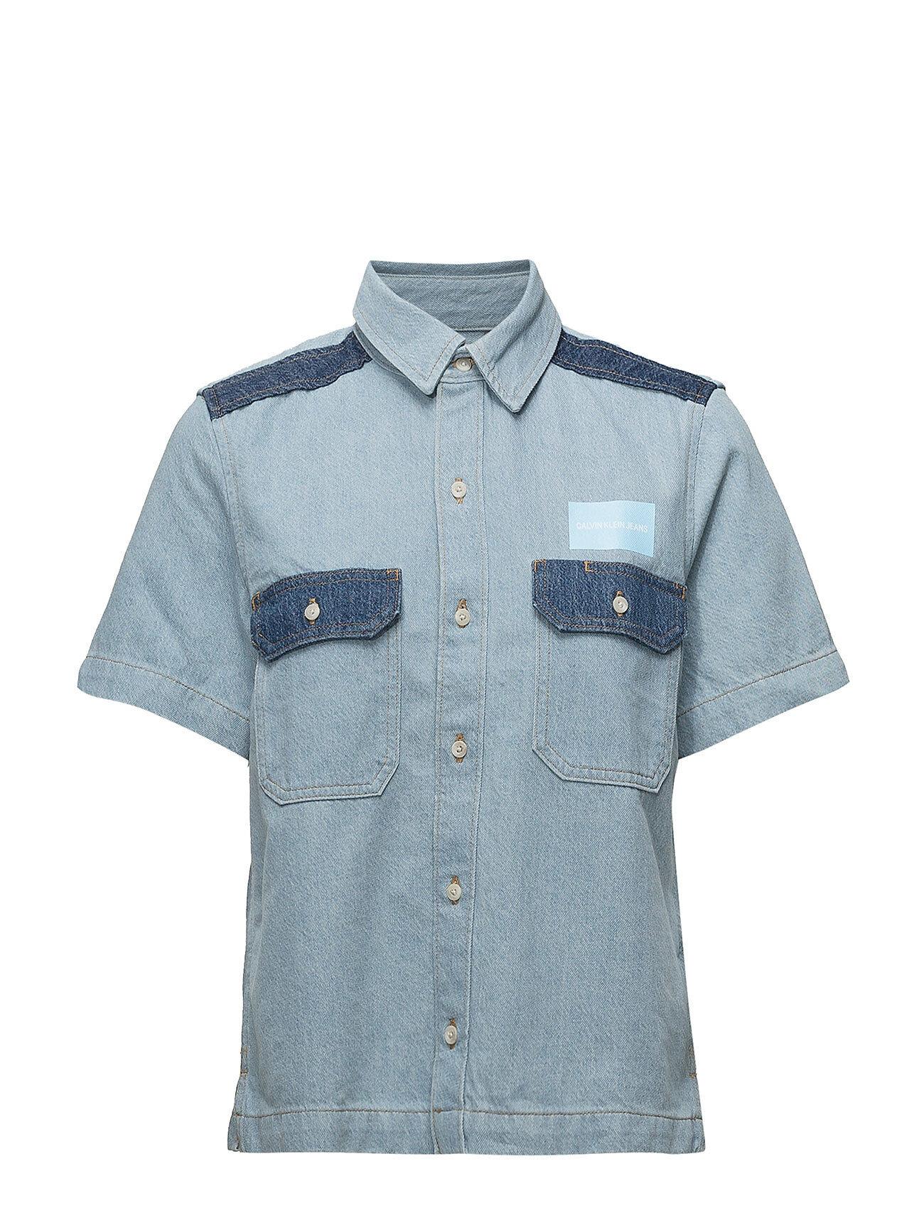Image of Calvin Ss Boxy Shirt Blocke Lyhythihainen Paita Sininen Calvin Klein Jeans