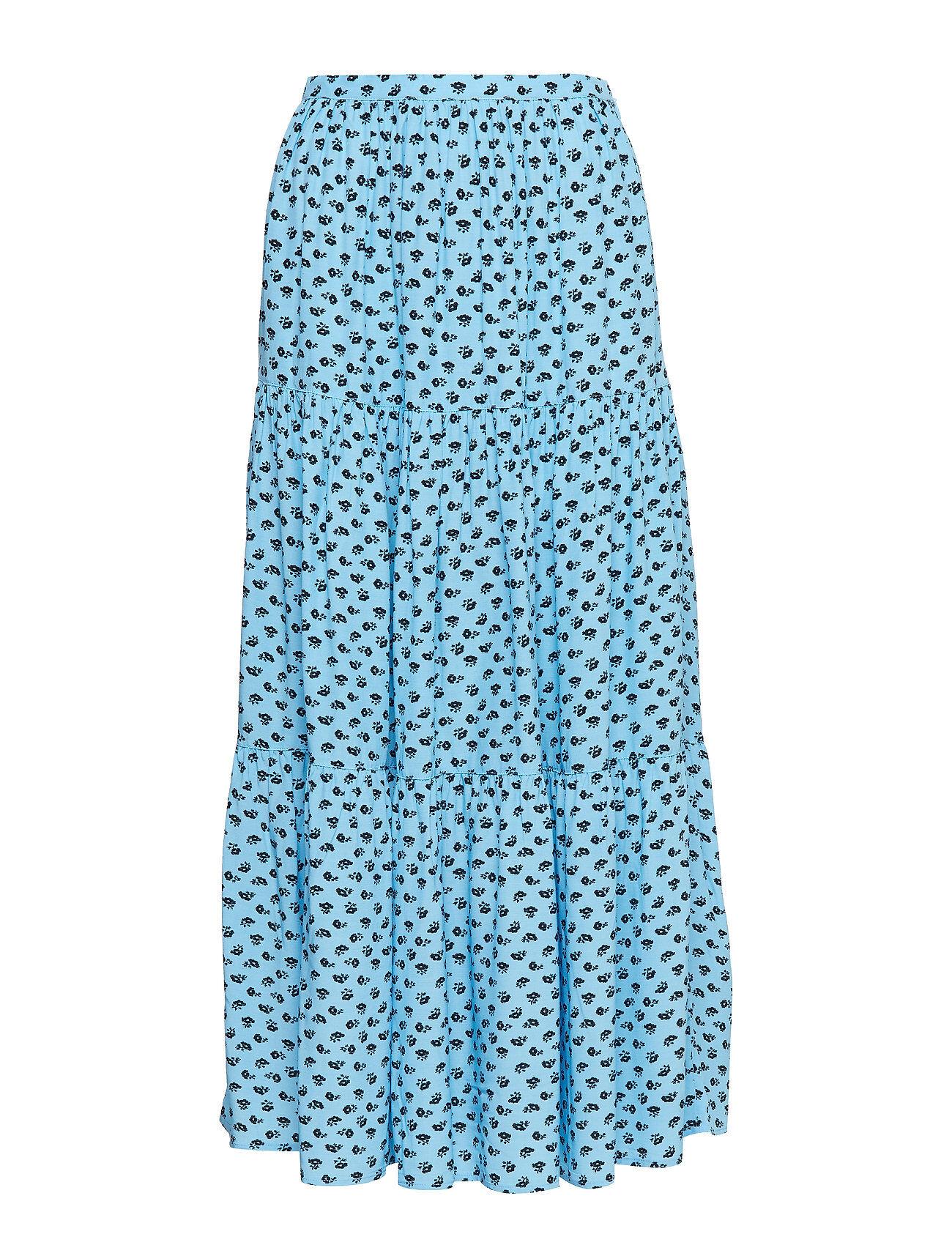 Image of Calvin Gathered Midi Skirt Pitkä Hame Sininen