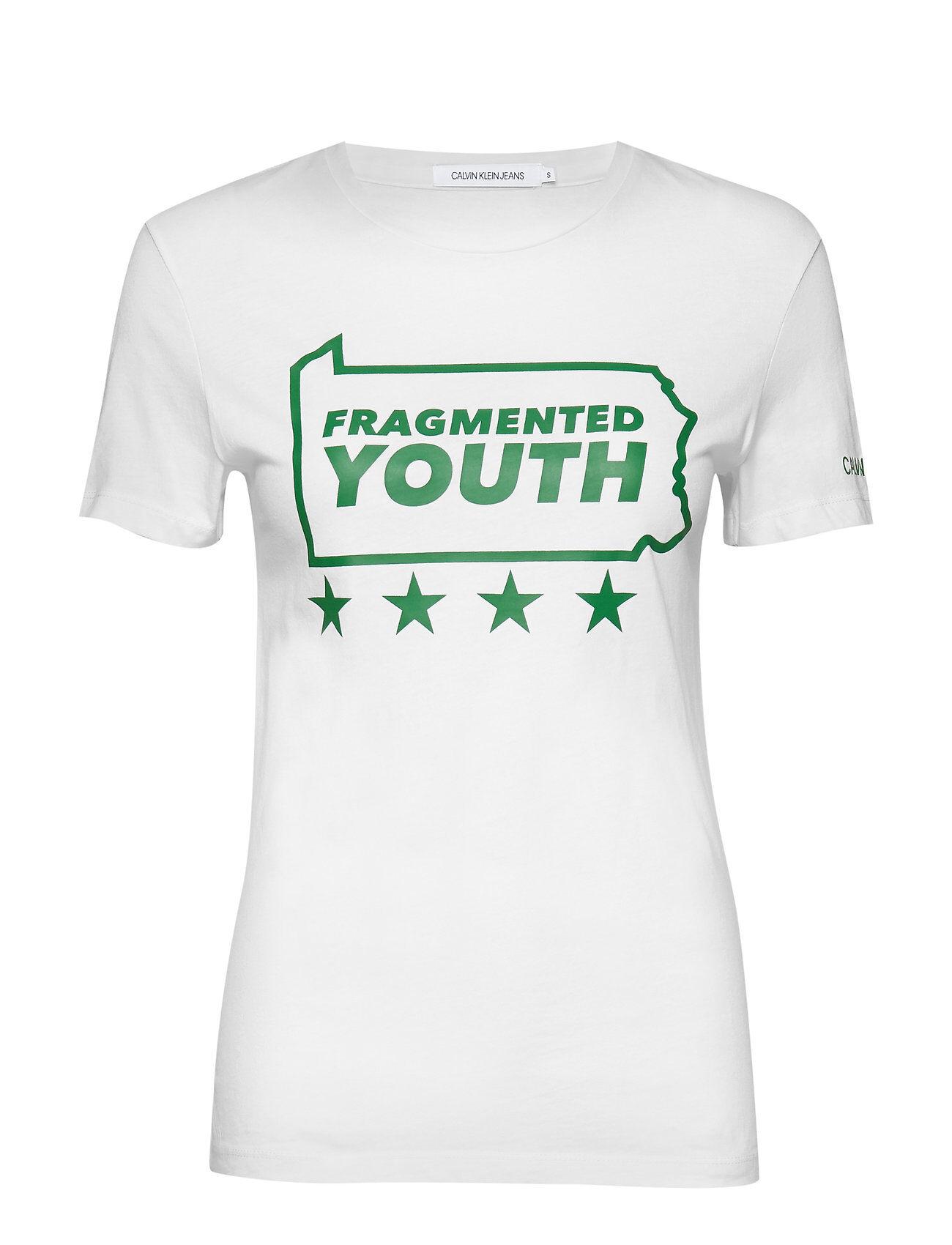 Image of Calvin Slogan Slim Tee T-shirts & Tops Short-sleeved Valkoinen Calvin Klein Jeans