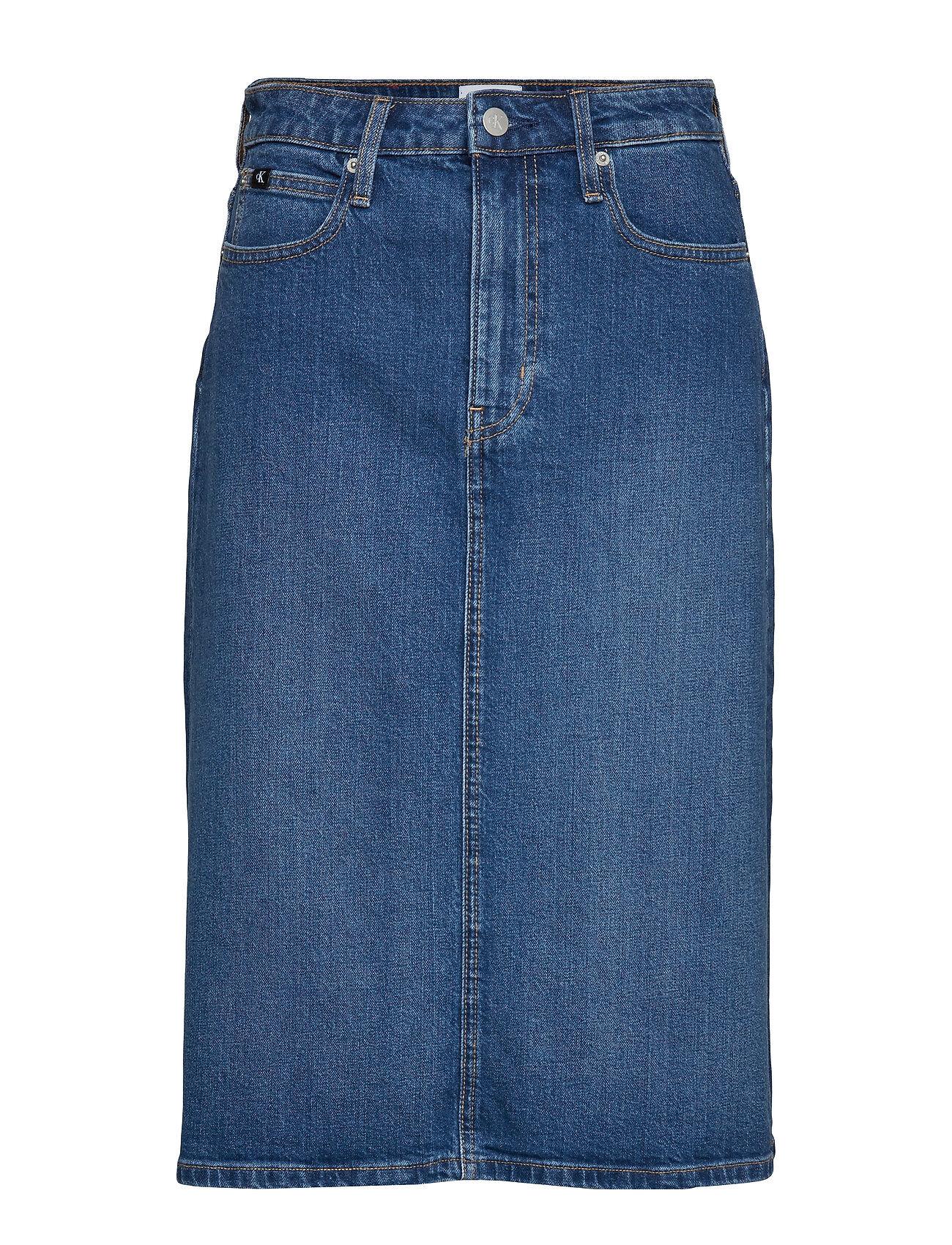 Image of Calvin Iconic Midi Skirt, 9 Polvipituinen Hame Sininen Calvin Klein Jeans