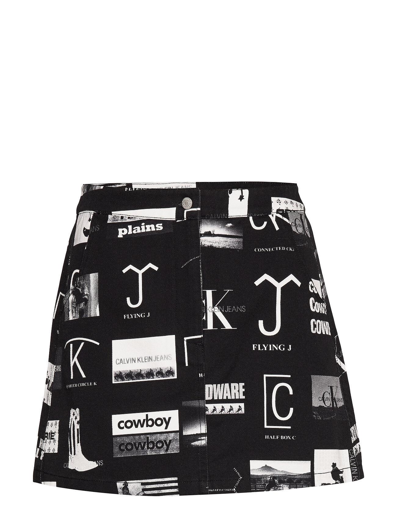 Image of Calvin Mini Punk Aop Skirt, Lyhyt Hame Musta Calvin Klein Jeans