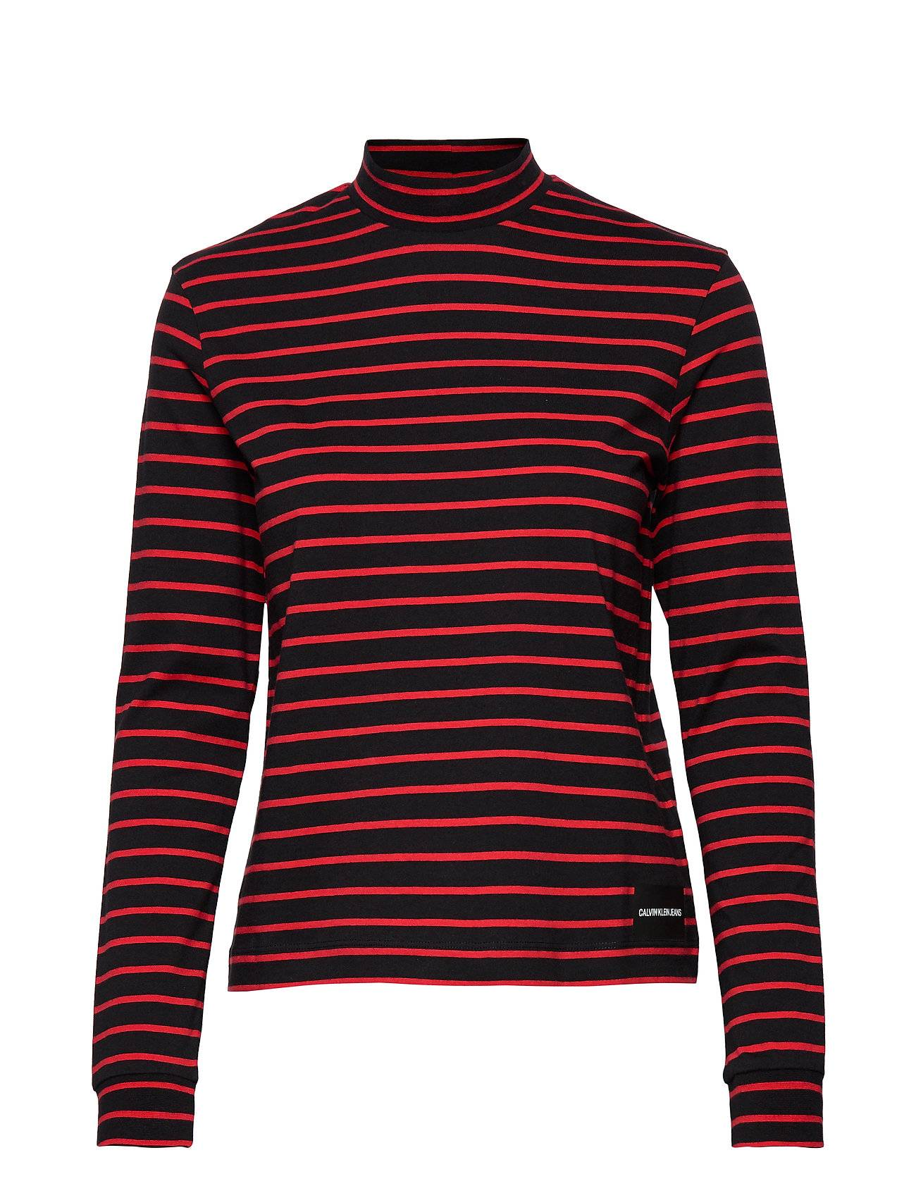 Image of Calvin Mock Neck Ls Tee T-shirts & Tops Long-sleeved Monivärinen/Kuvioitu