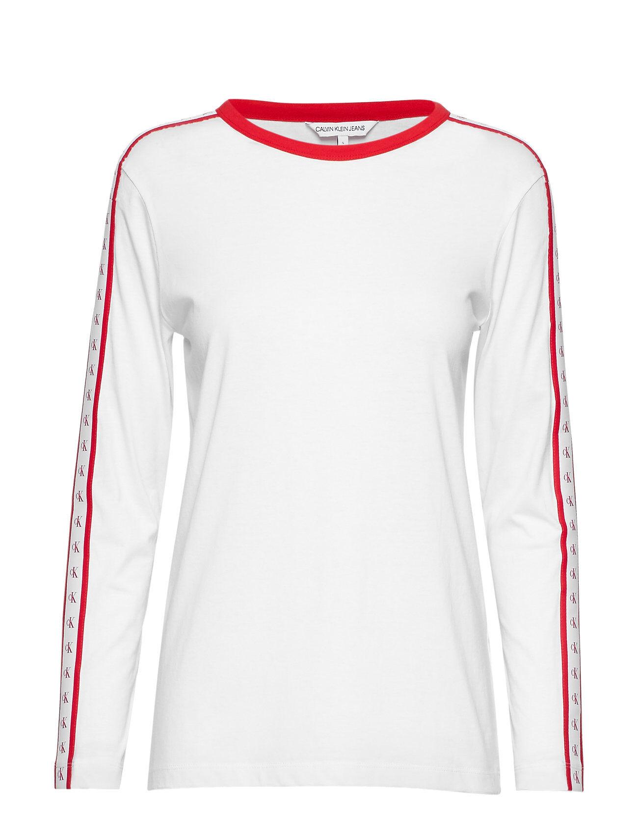 Image of Calvin Monogram Tape Straight Ls Tee T-shirts & Tops Long-sleeved Valkoinen