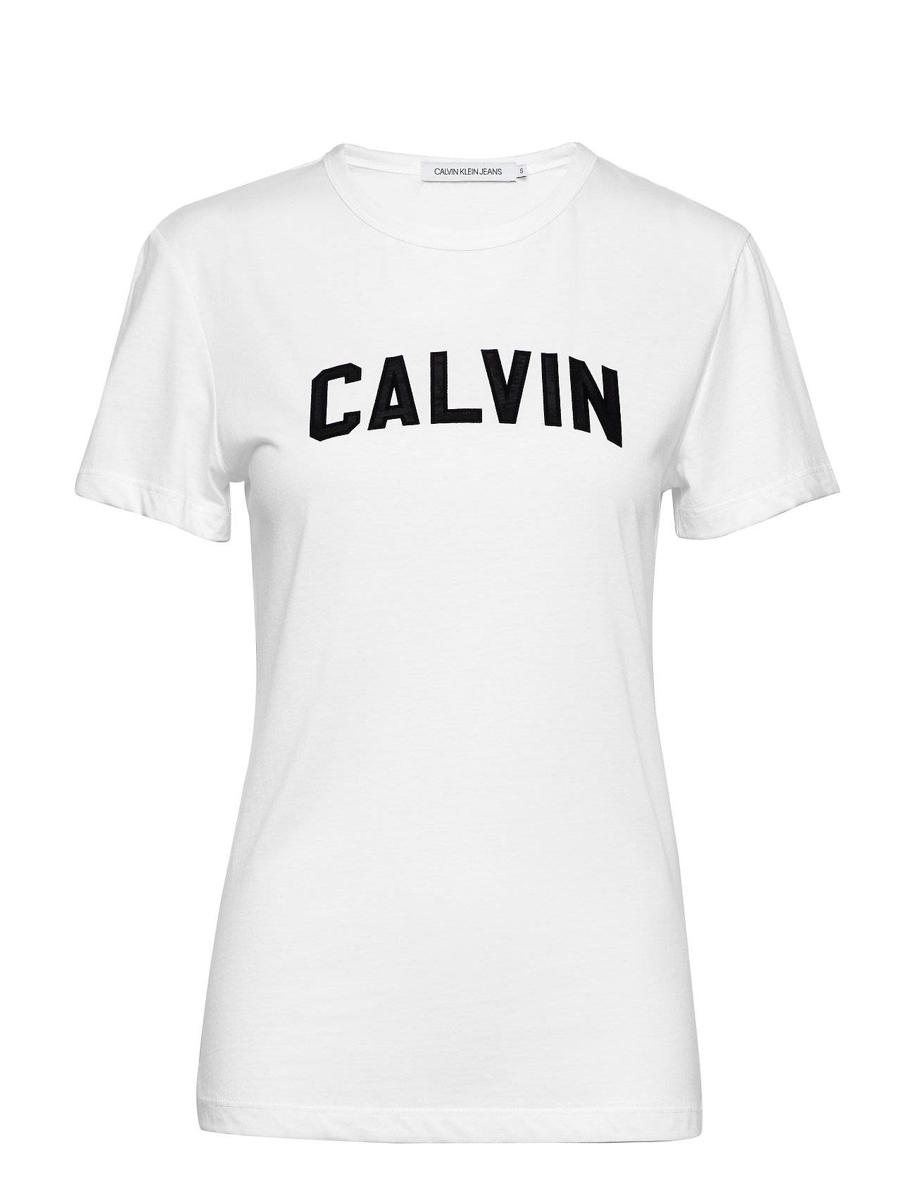 Image of Calvin Varsity Calvin Slim Tee T-shirts & Tops Short-sleeved Valkoinen Calvin Klein Jeans