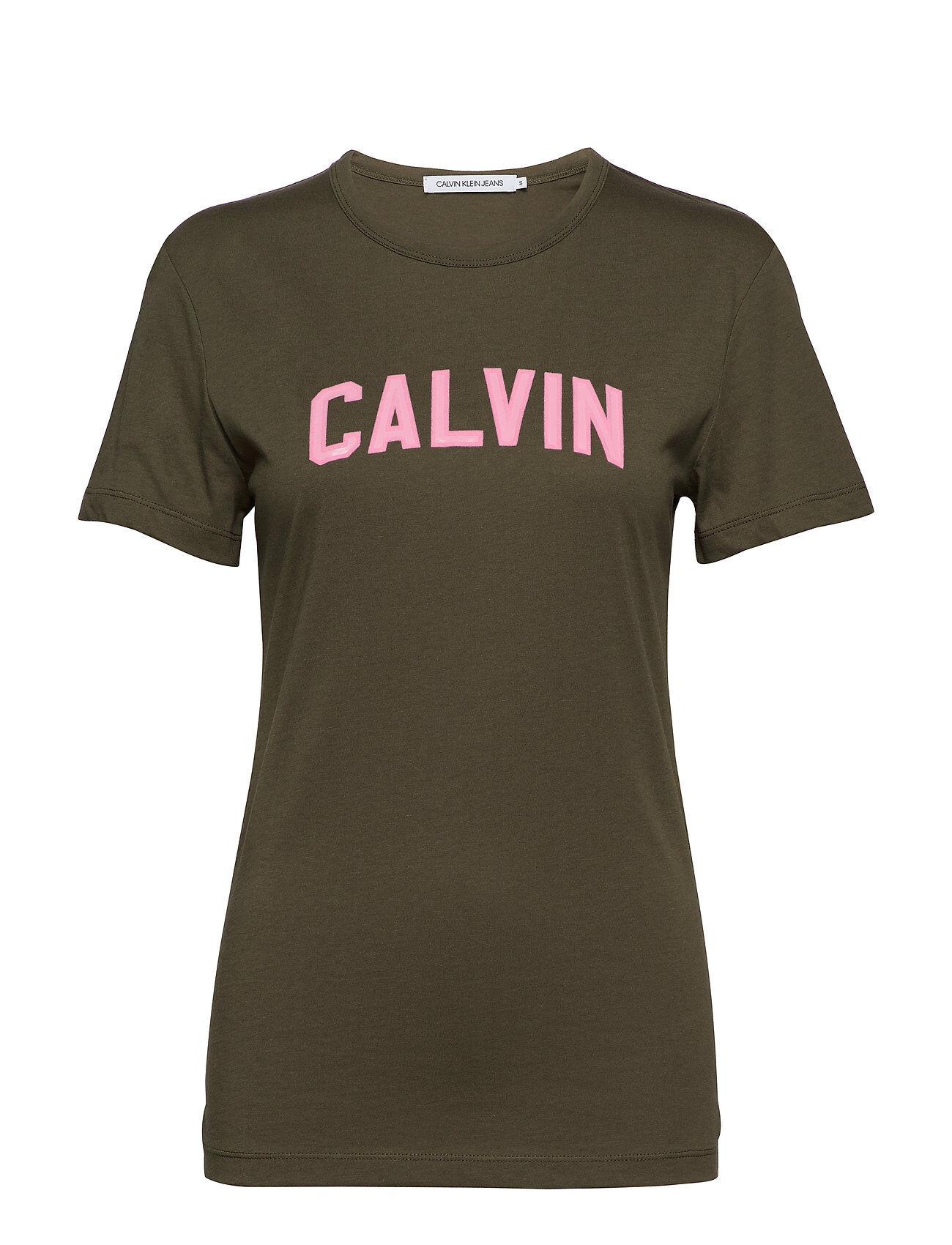 Image of Calvin Varsity Calvin Slim Tee T-shirts & Tops Short-sleeved Vihreä Calvin Klein Jeans
