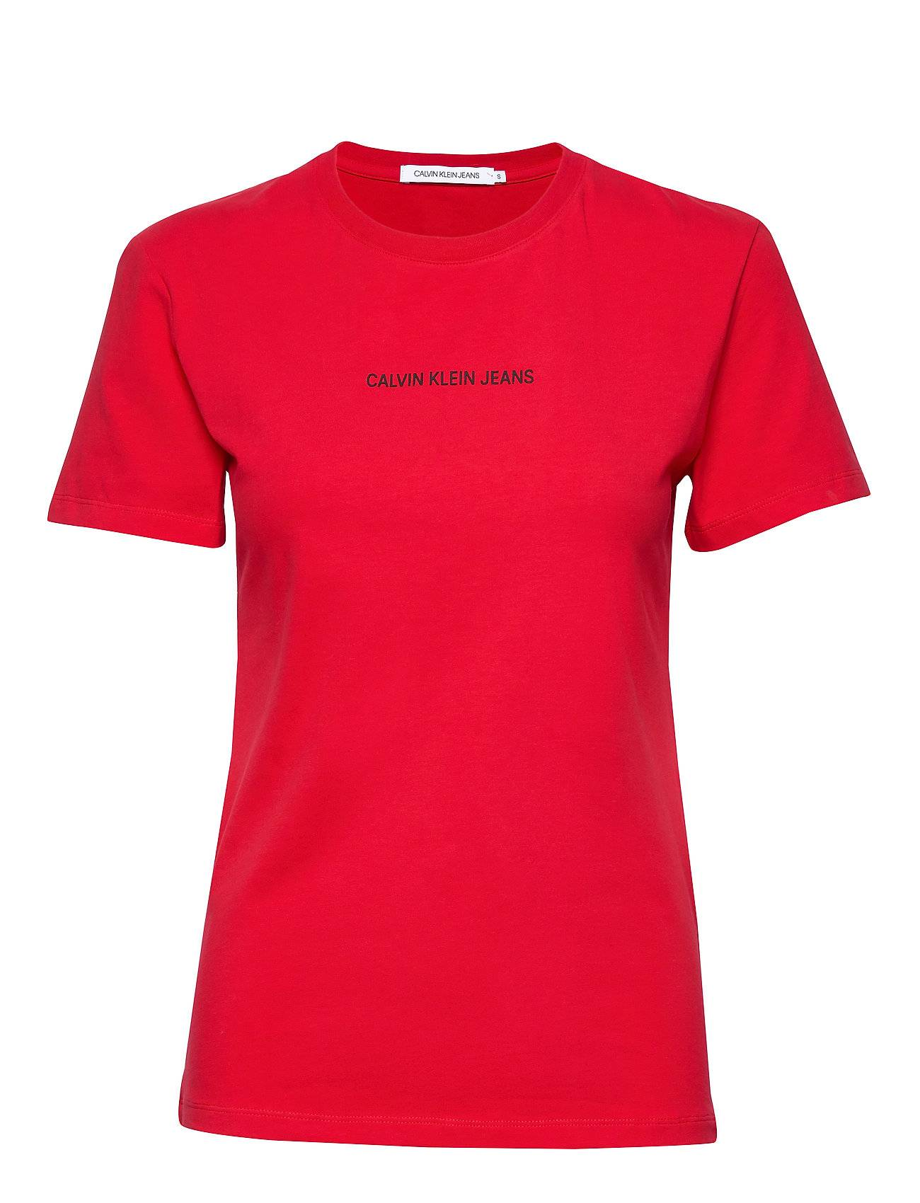 Image of Calvin Inst Logo Stretch Slim Tee T-shirts & Tops Short-sleeved Punainen Calvin Klein Jeans