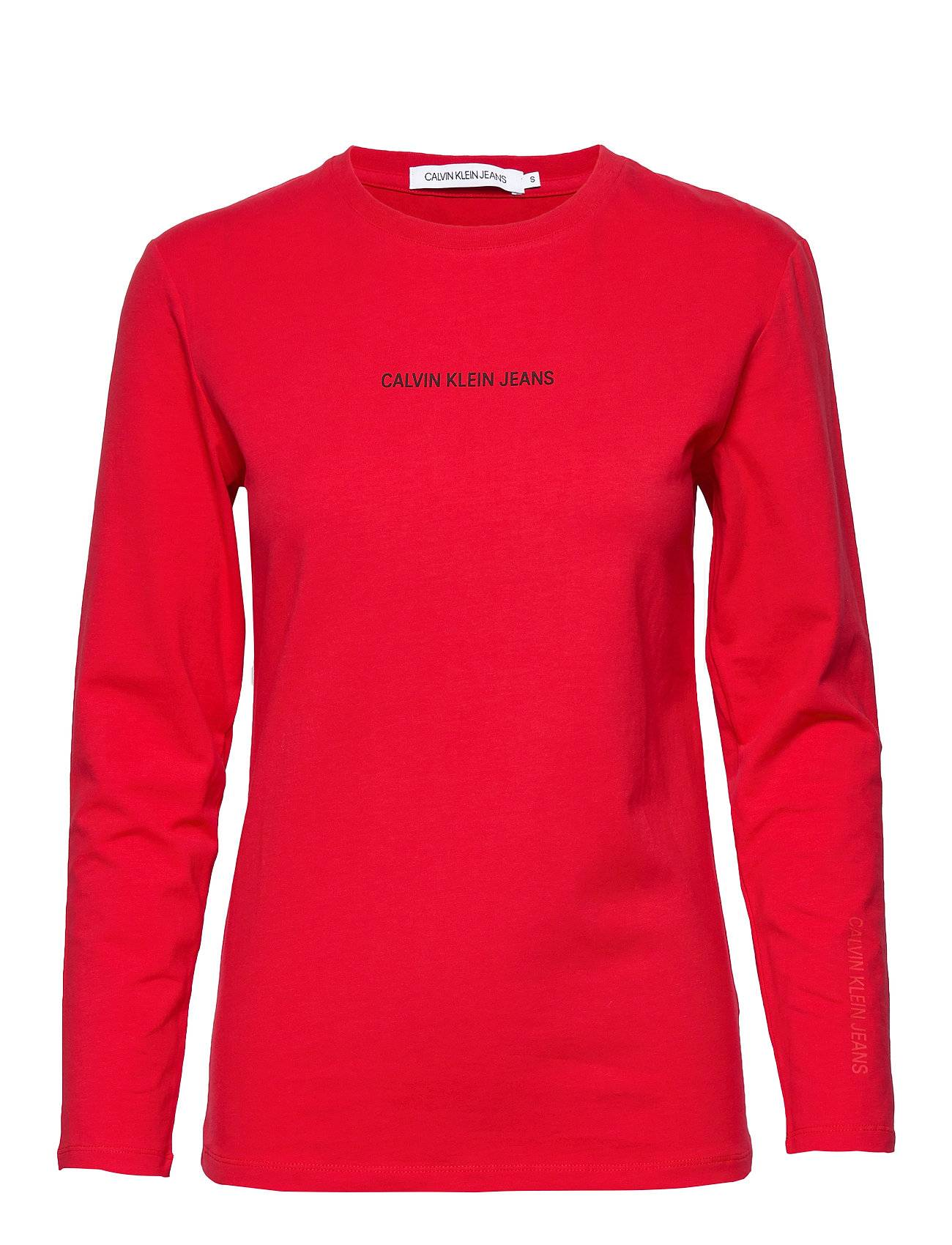 Image of Calvin Inst Logo Stretch Ls Slim Tee T-shirts & Tops Long-sleeved Punainen Calvin Klein Jeans