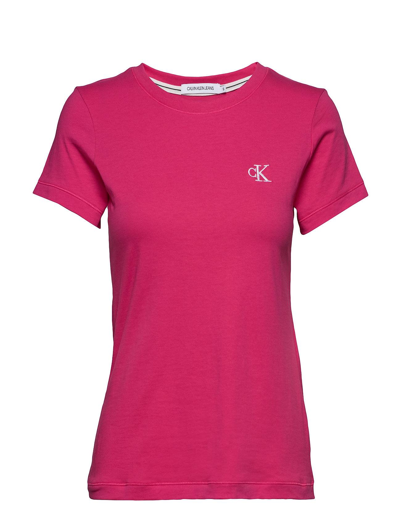 Image of Calvin Ck Embroidery Slim Tee T-shirts & Tops Short-sleeved Vaaleanpunainen Calvin Klein Jeans