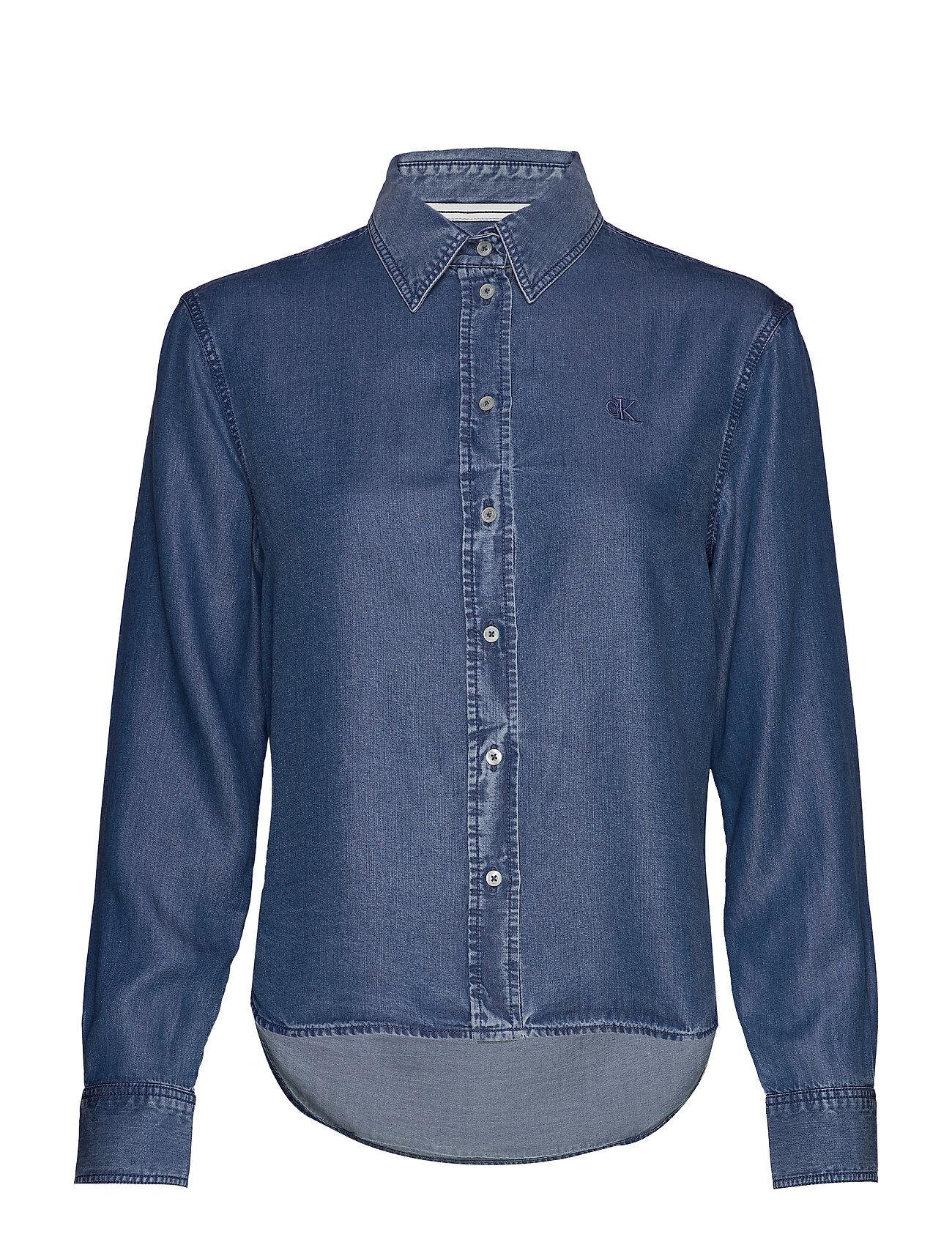 Image of Calvin Indigo Tencel Shirt Pitkähihainen Paita Sininen Calvin Klein Jeans