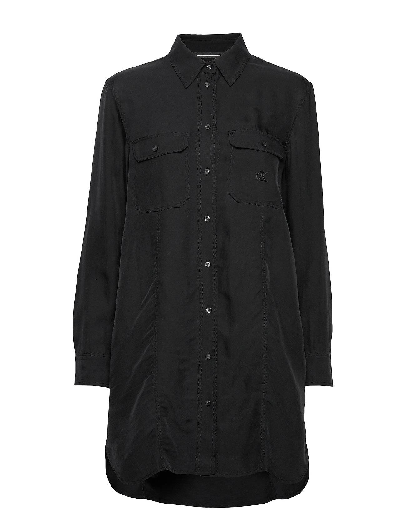 Image of Calvin Drapey Utitlity Shirt Dress Polvipituinen Mekko Musta Calvin Klein Jeans