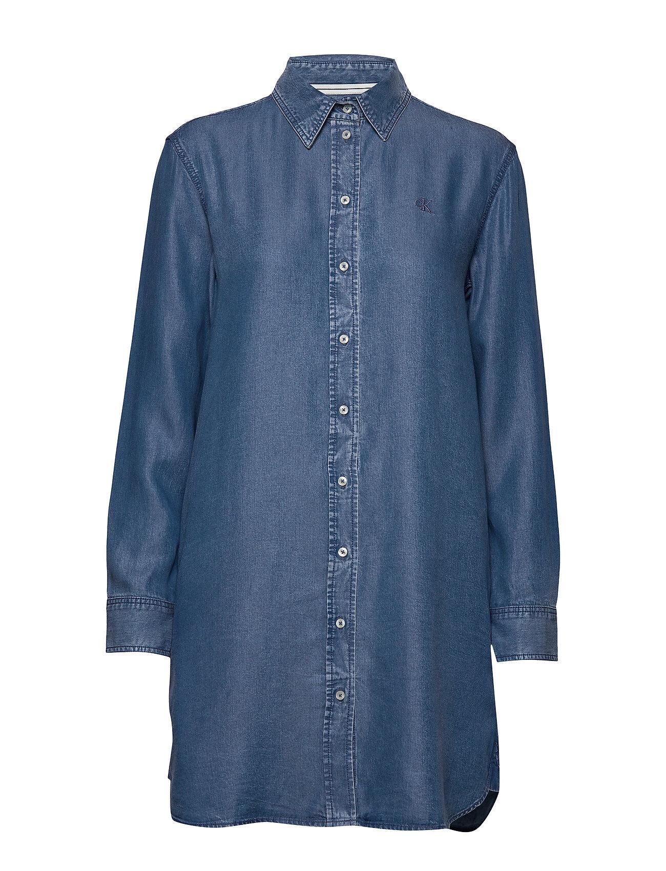 Image of Calvin Indigo Tencel Shirt Dress Lyhyt Mekko Sininen Calvin Klein Jeans