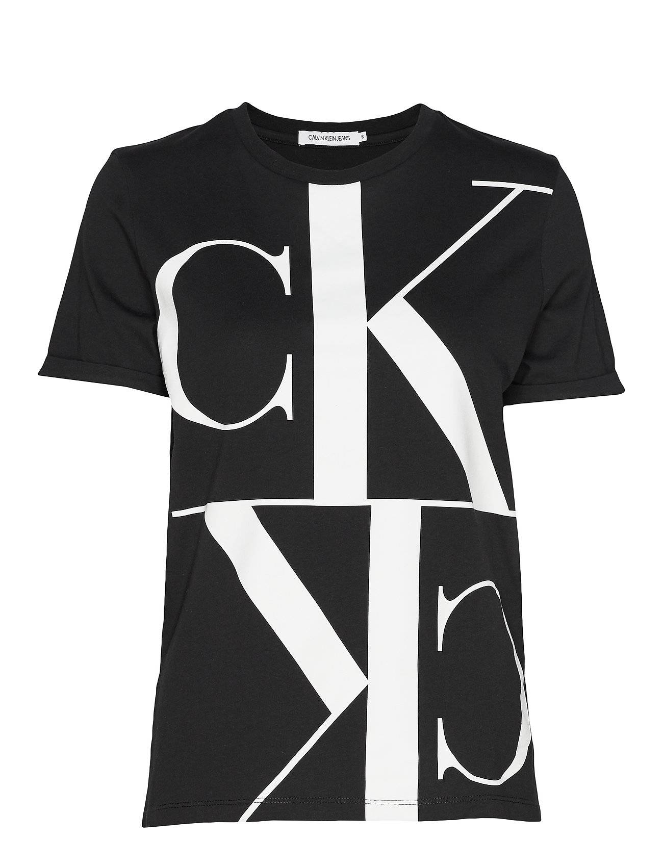 Image of Calvin Mirrored Monogram Straight Tee T-shirts & Tops Short-sleeved Musta Calvin Klein Jeans