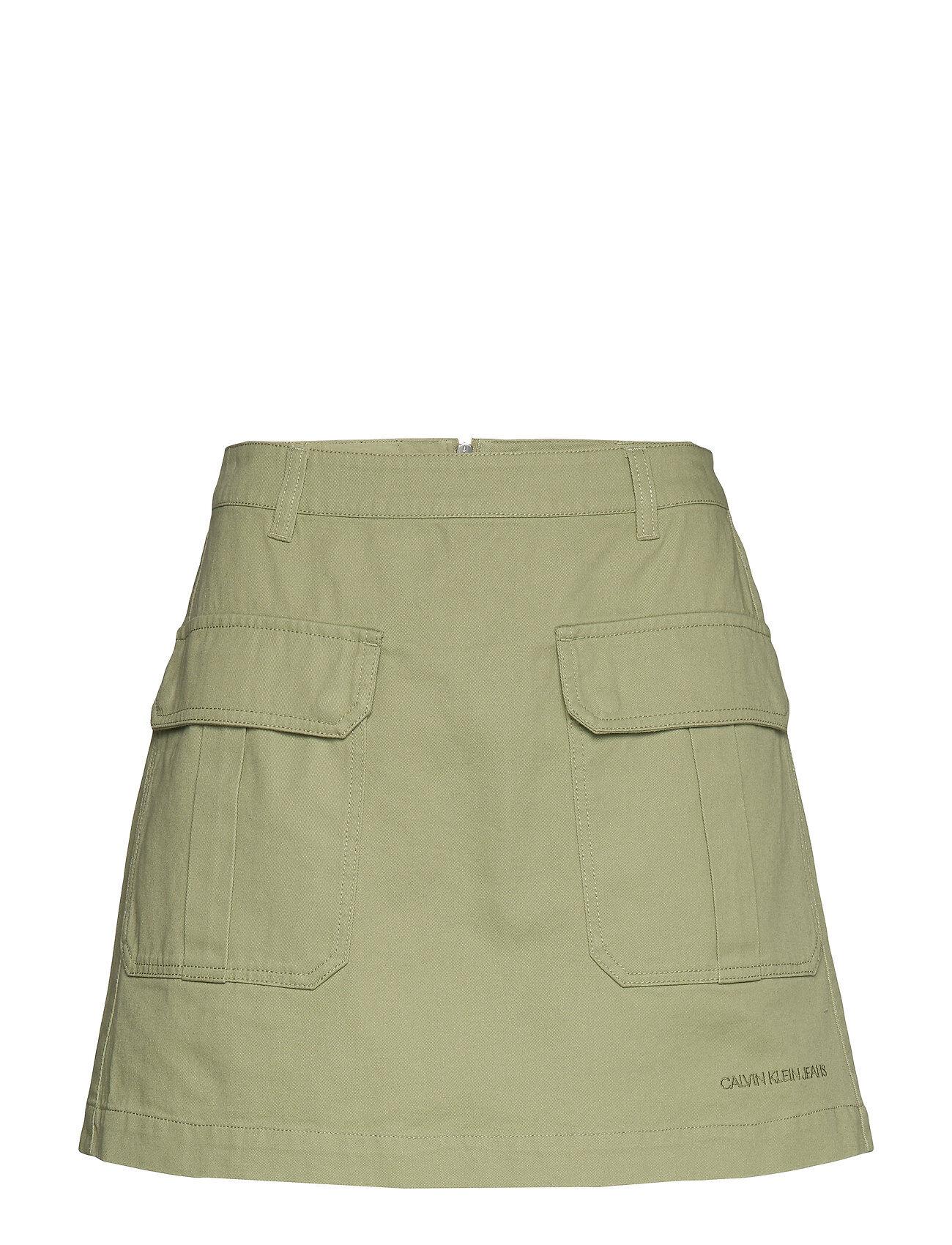 Image of Calvin Cotton Twill Utility Mini Skirt Lyhyt Hame Vihreä Calvin Klein Jeans
