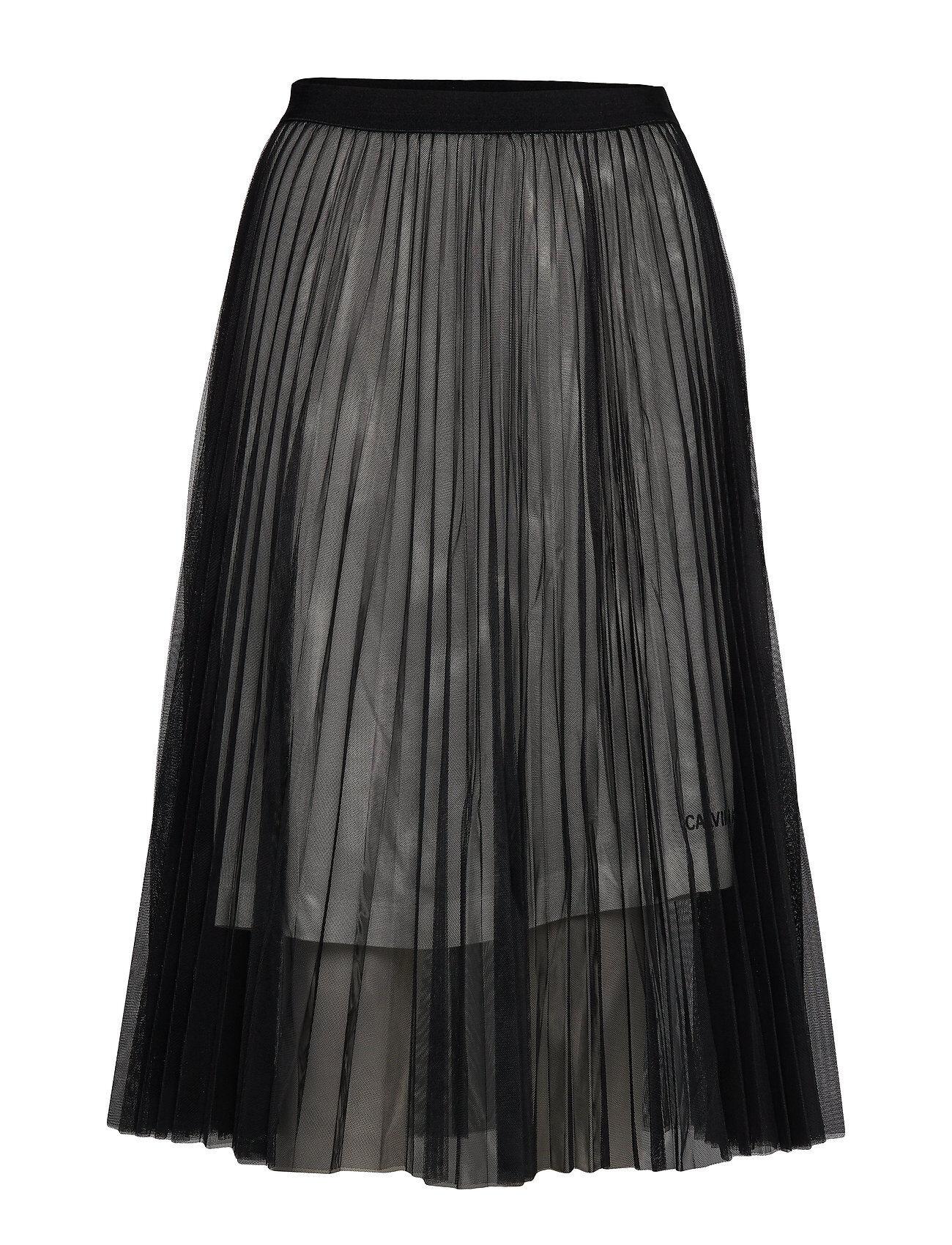 Image of Calvin Pleated Mesh Double Layer Skirt Polvipituinen Hame Musta Calvin Klein Jeans