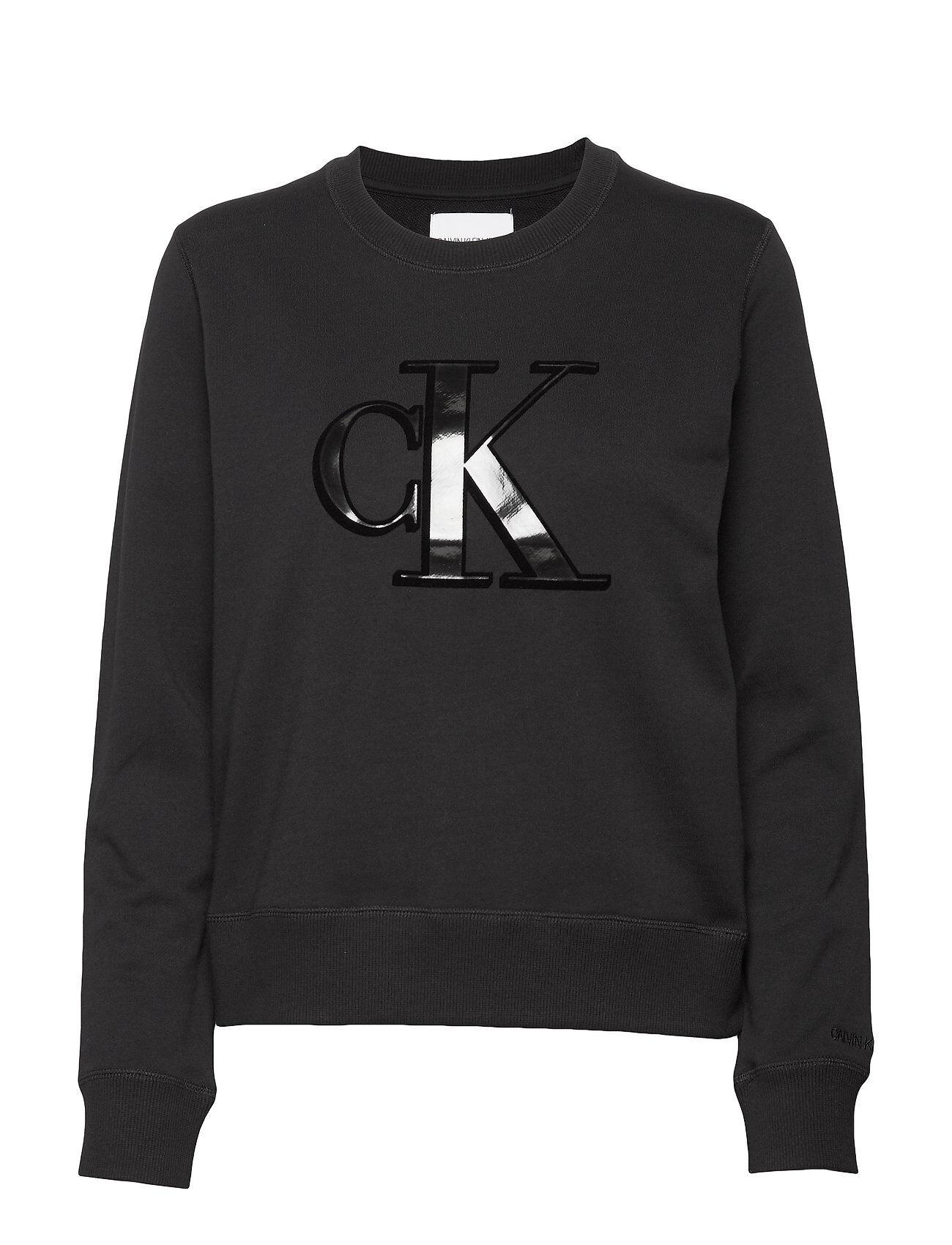 Image of Calvin Flock Monogram Ck Regular Cn Svetari Collegepaita Musta Calvin Klein Jeans