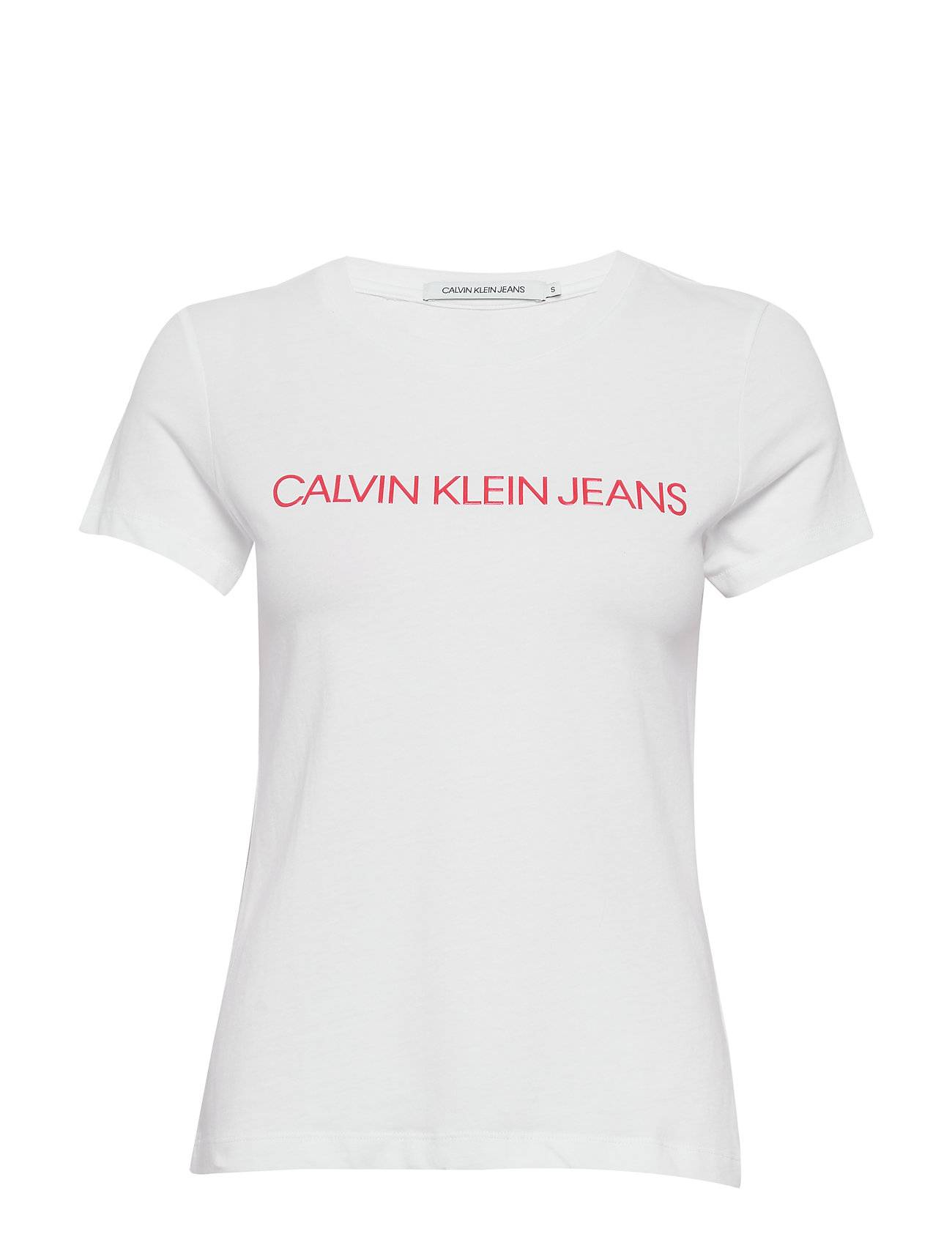 Image of Calvin Institutional Logo Slim Fit Tee T-shirts & Tops Short-sleeved Valkoinen Calvin Klein Jeans