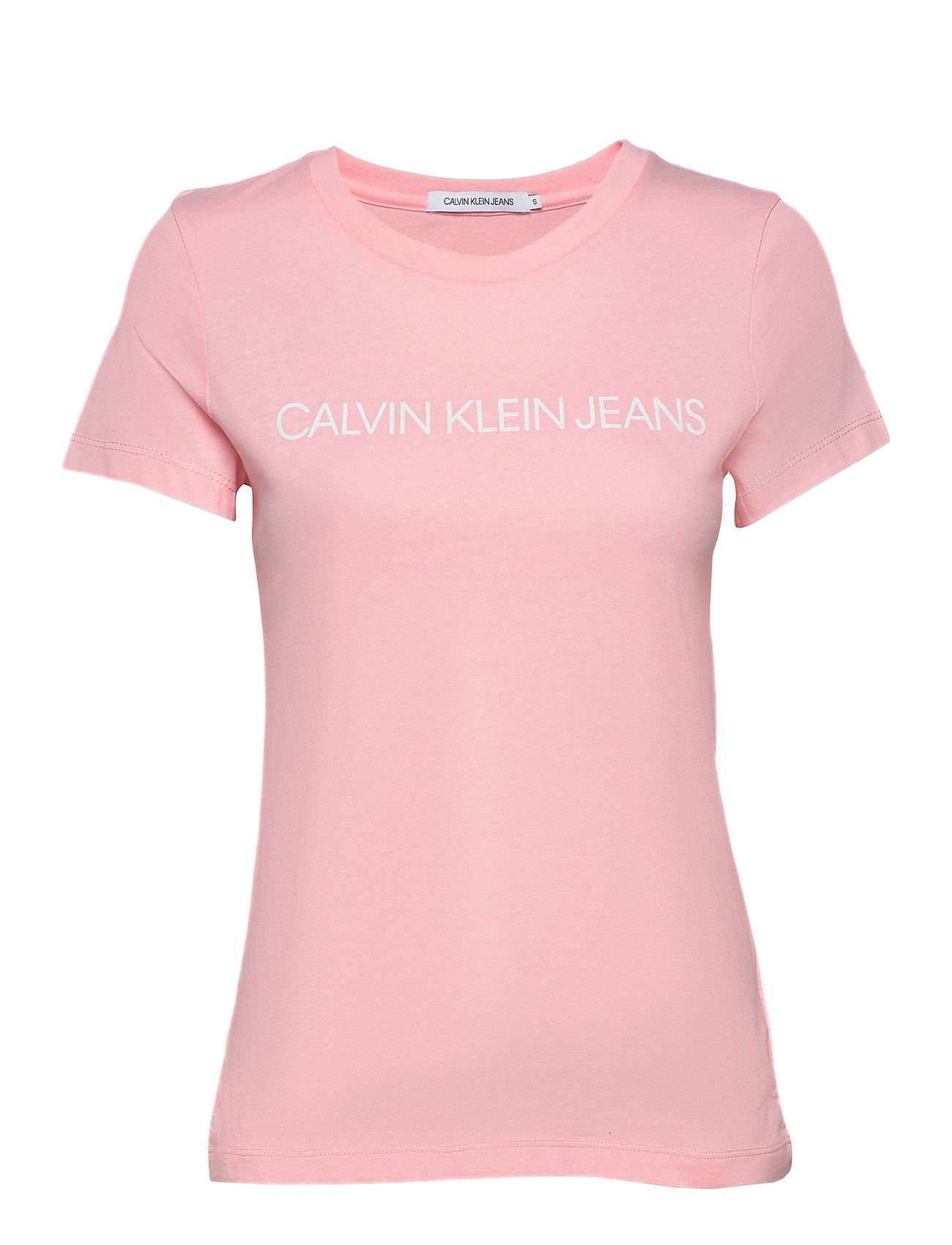 Image of Calvin Institutional Logo Slim Fit Tee T-shirts & Tops Short-sleeved Vaaleanpunainen Calvin Klein Jeans