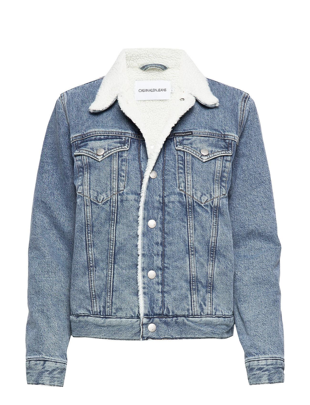 Image of Calvin Sherpa Foundation Denim Trucker Farkkutakki Denimtakki Sininen Calvin Klein Jeans