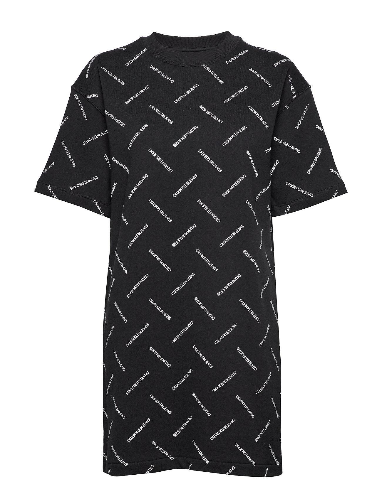 Image of Calvin Diagonal Logo T-Shirt Dress Lyhyt Mekko Sininen Calvin Klein Jeans