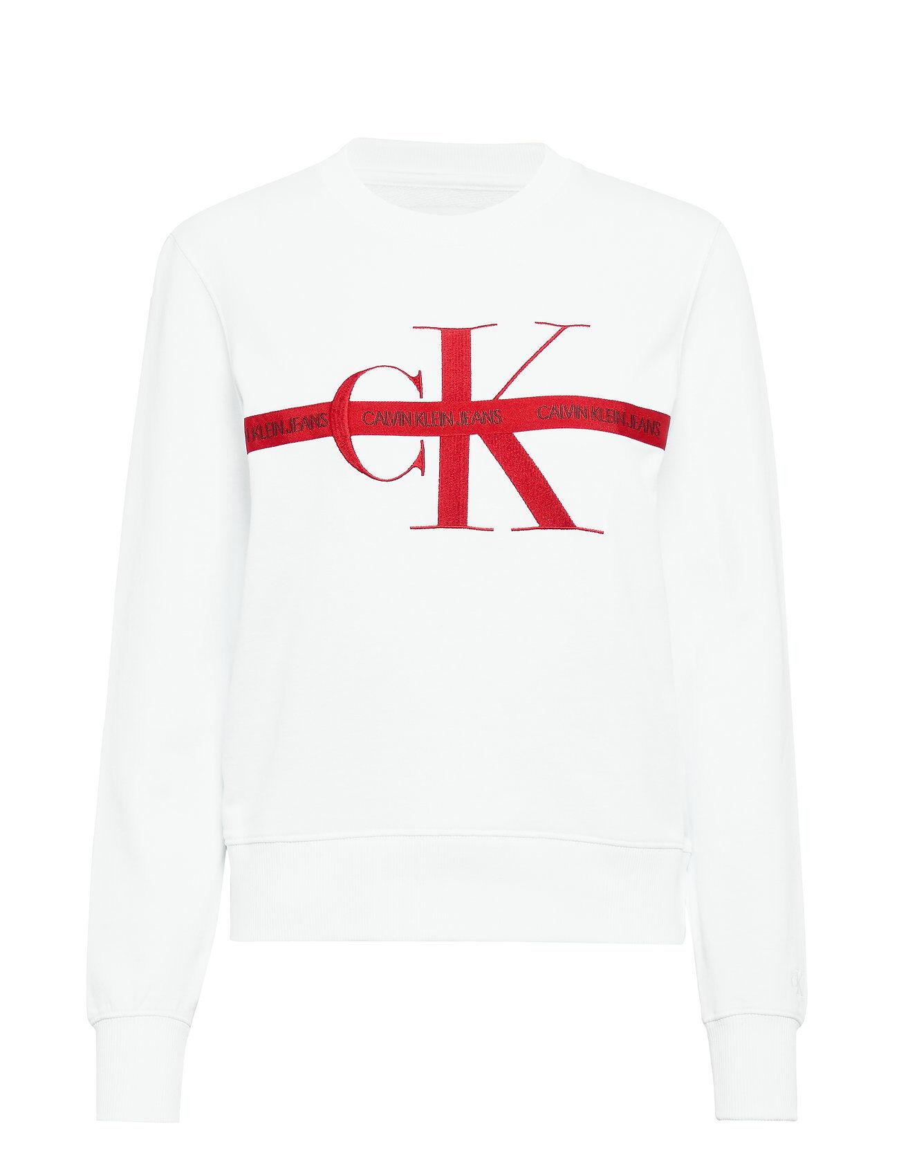Image of Calvin Taping Through Monogram Cn Svetari Collegepaita Valkoinen Calvin Klein Jeans