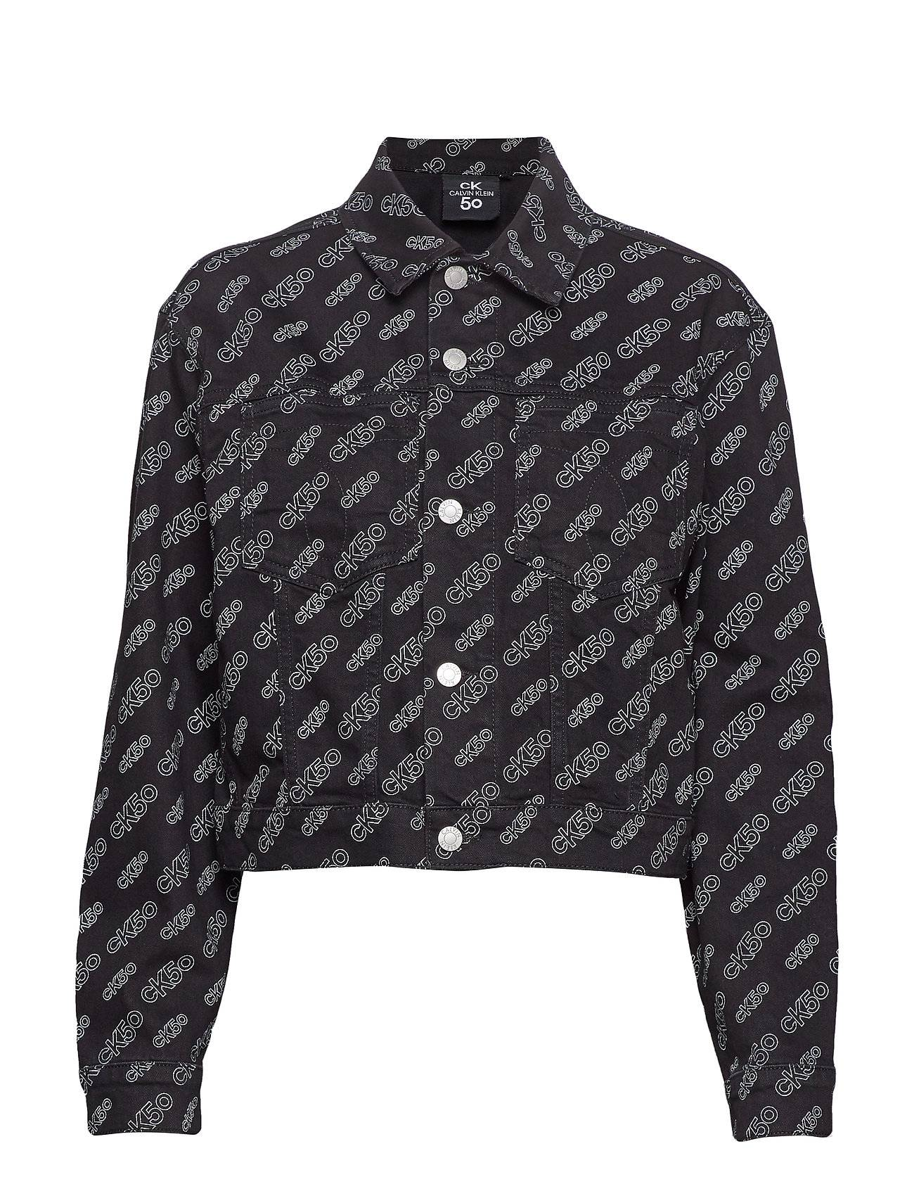 Image of Calvin Cropped Omega Denim Jacket Farkkutakki Denimtakki Musta Calvin Klein Jeans