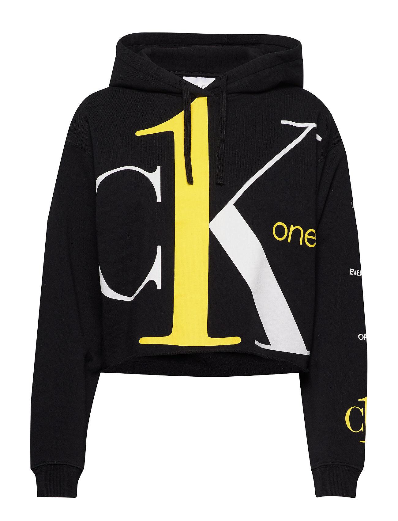 Image of Calvin Big Logo Cropped Boyfriend Hd Huppari Musta Calvin Klein Jeans